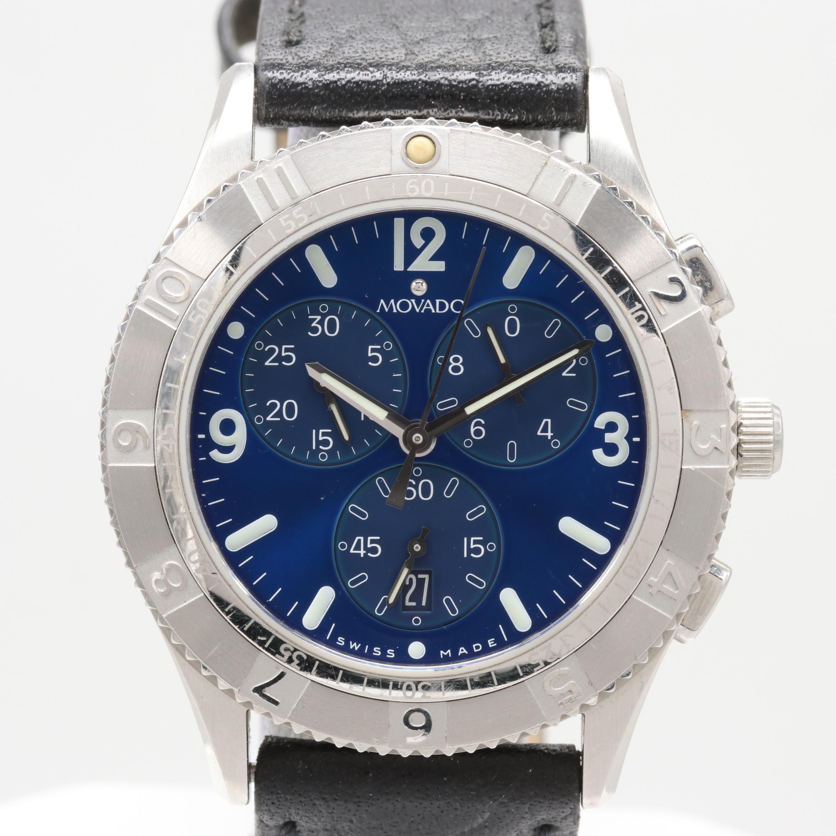 Movado Stainless Steel Chronograph Wristwatch
