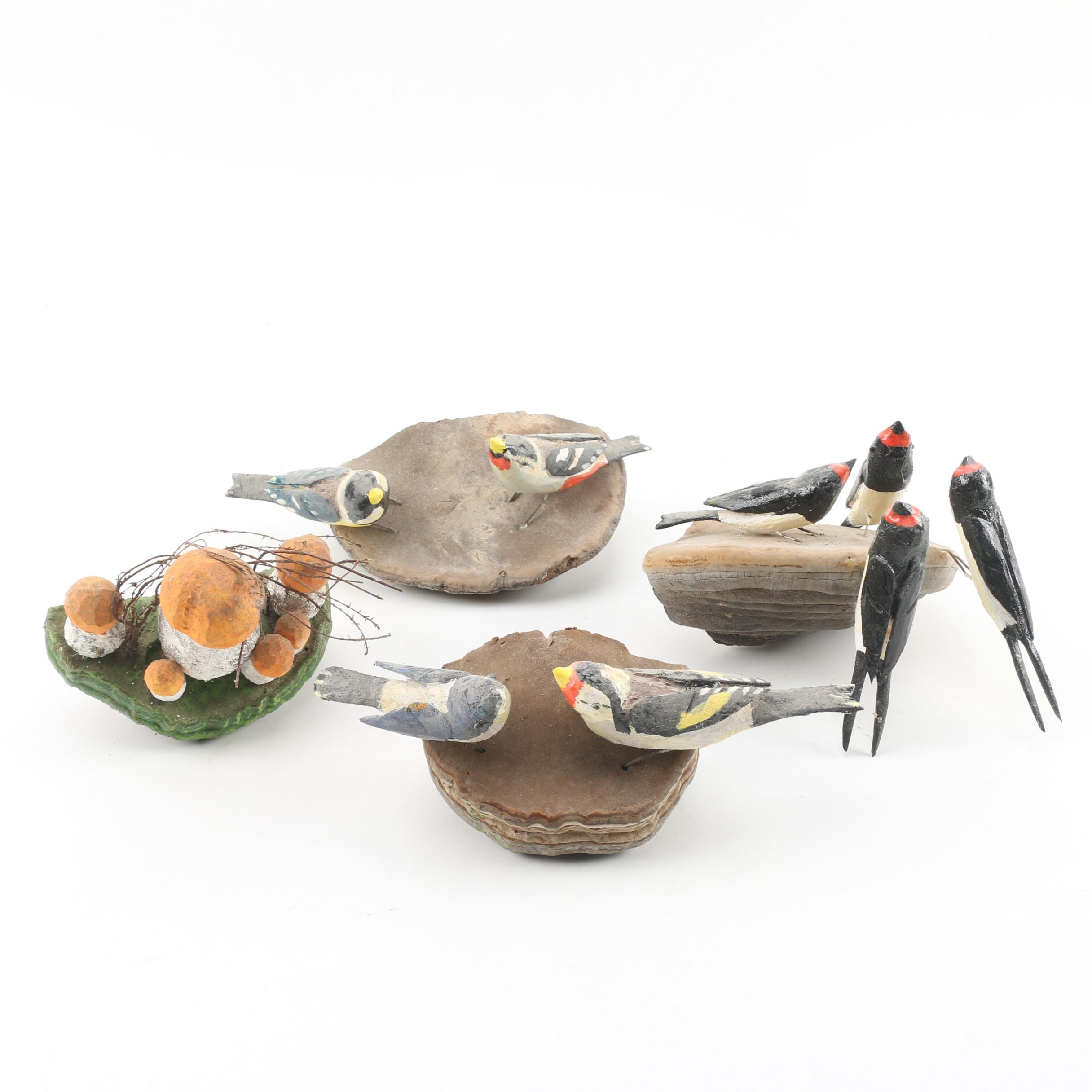 European Style Folk Art Bird and Mushroom Carvings