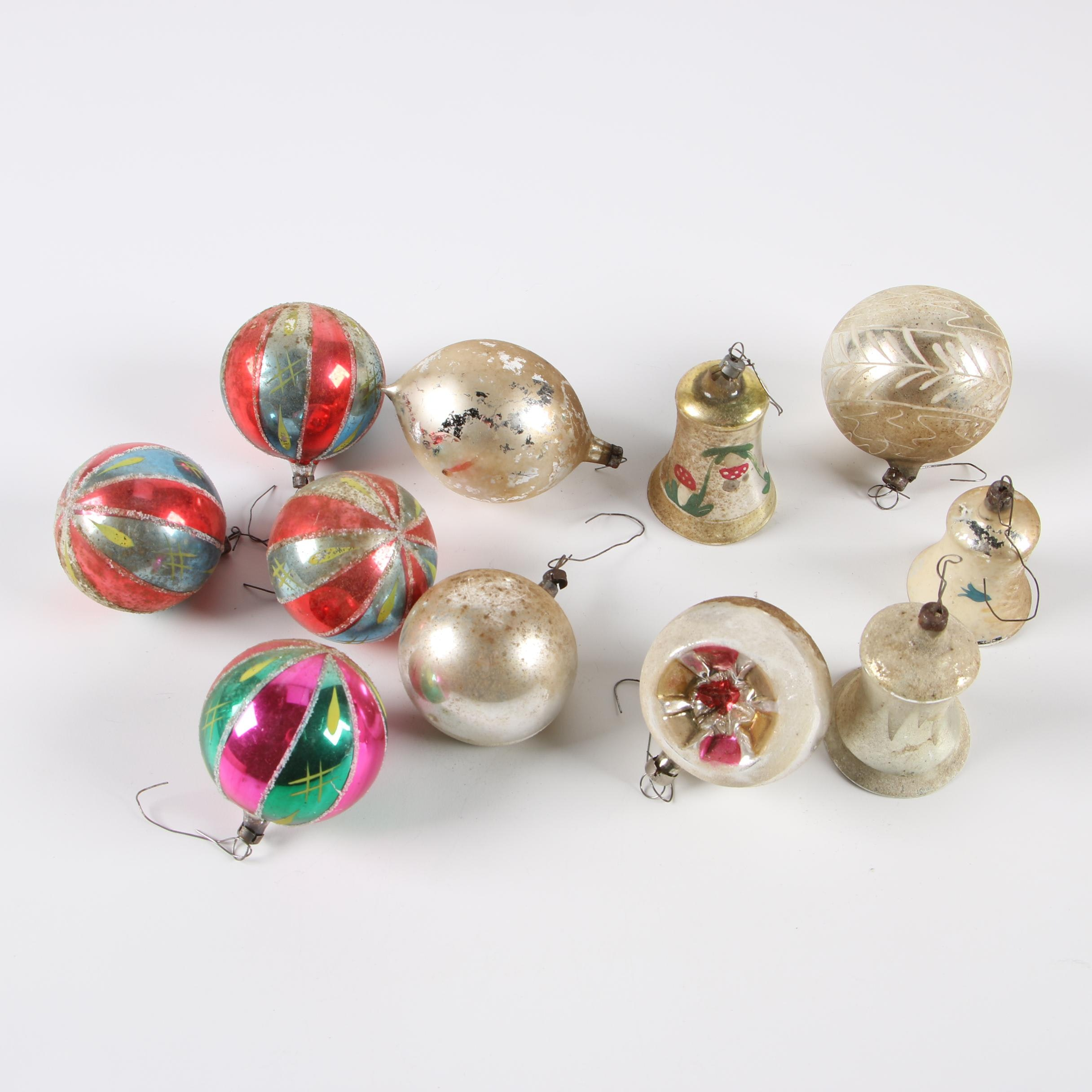 European Glass Christmas Ornaments, Mid-Century