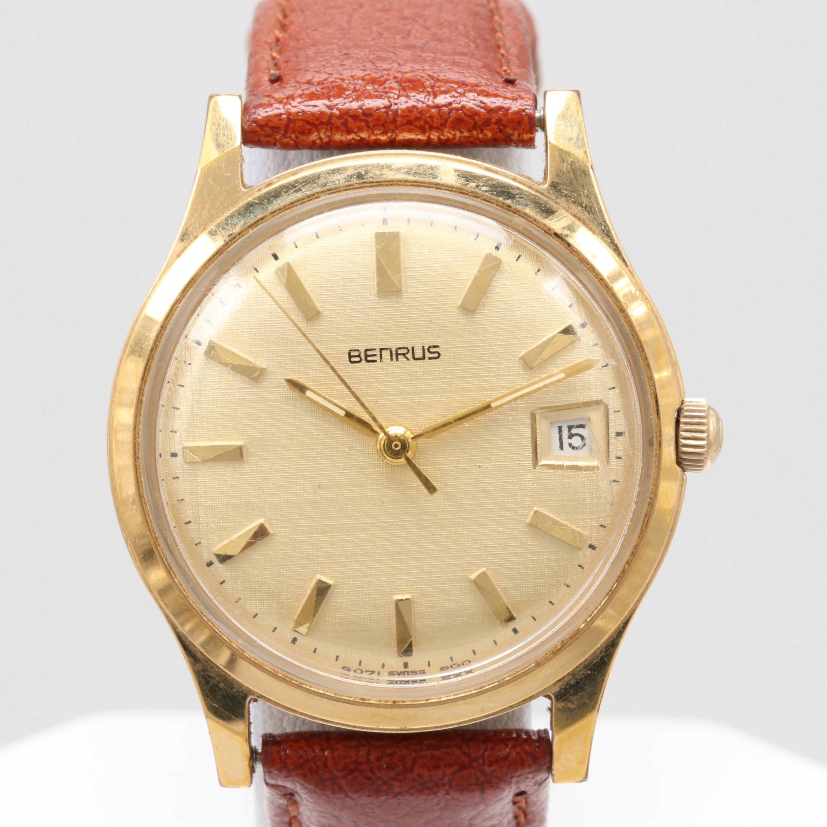 Benrus Gold Tone Wristwatch With Date Window