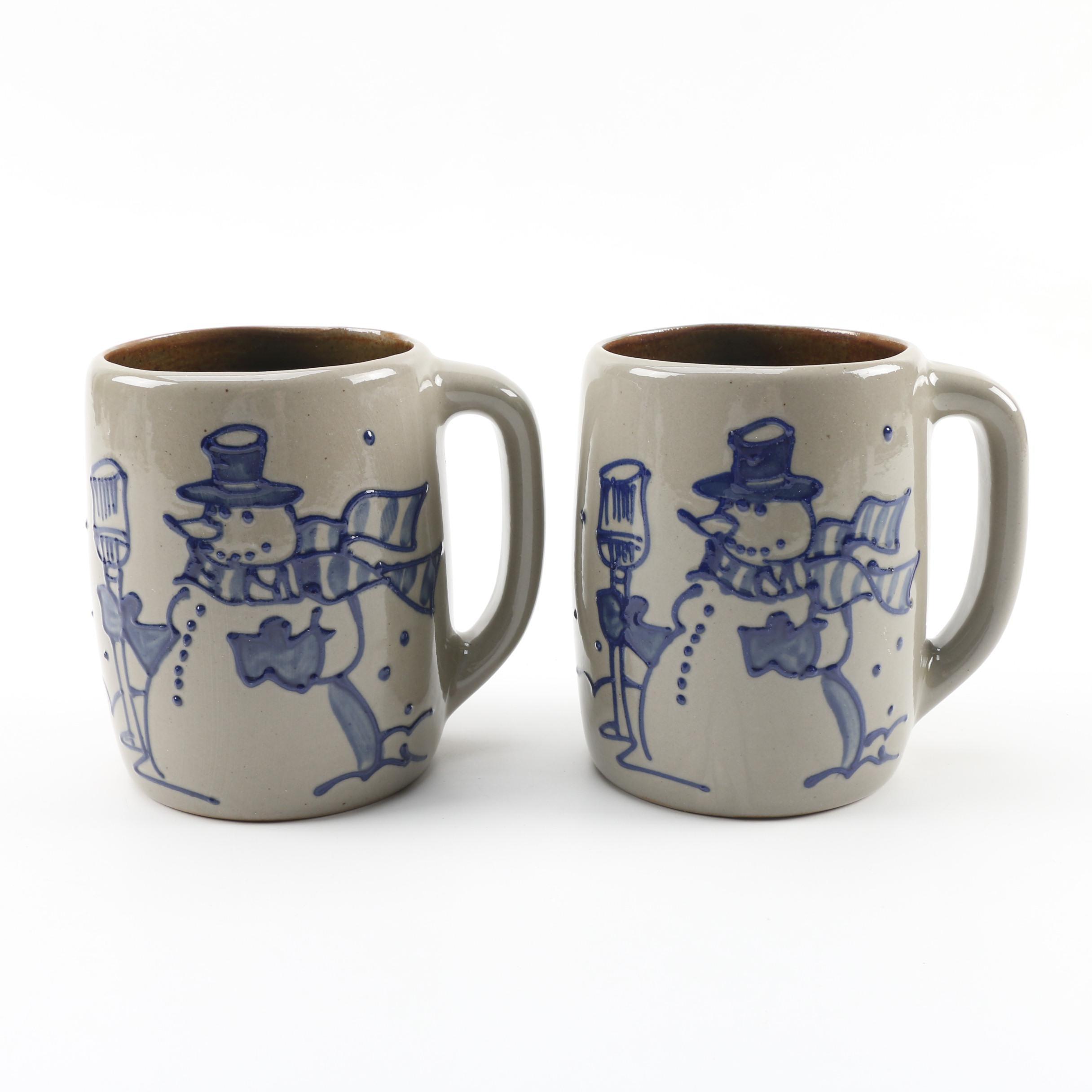 Beaumont Brothers Pottery Snowman Themed Salt Glazed Stoneware Mugs c. 1997