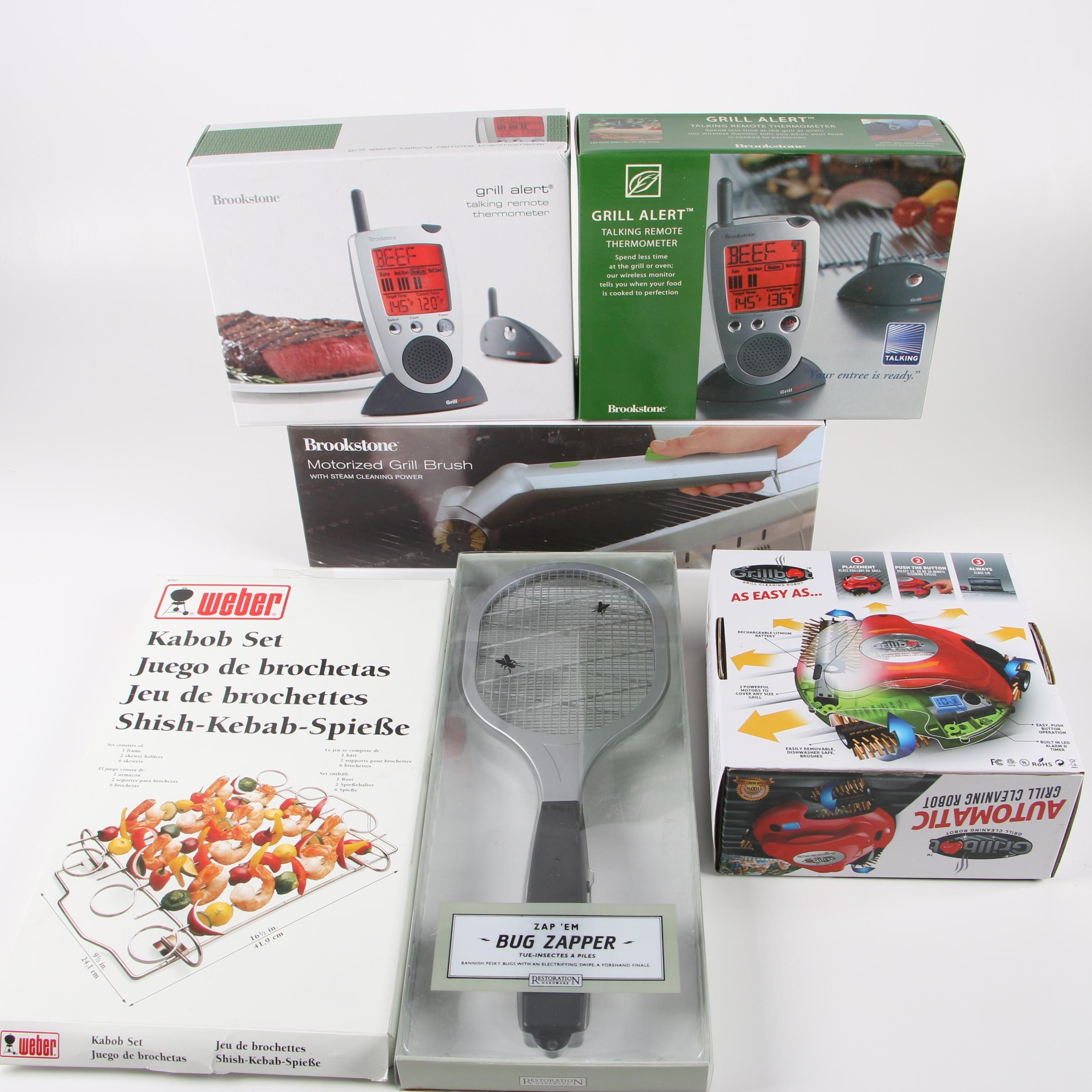 Grill Accessories featuring Weber Kabob Set and Brookstone Brush and Thermometer