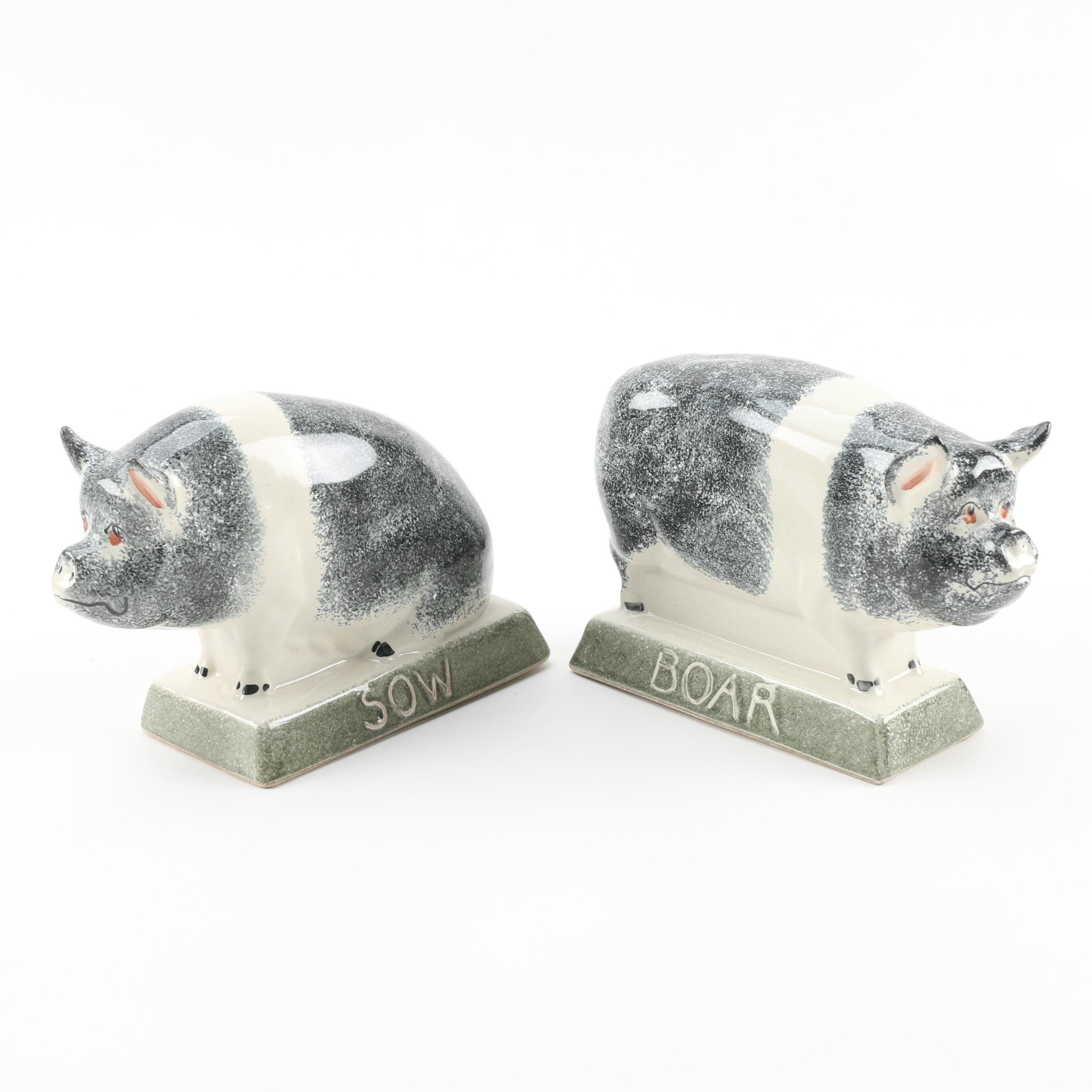 "Rye Pottery English ""Boar"" and ""Sow"" Figurines"