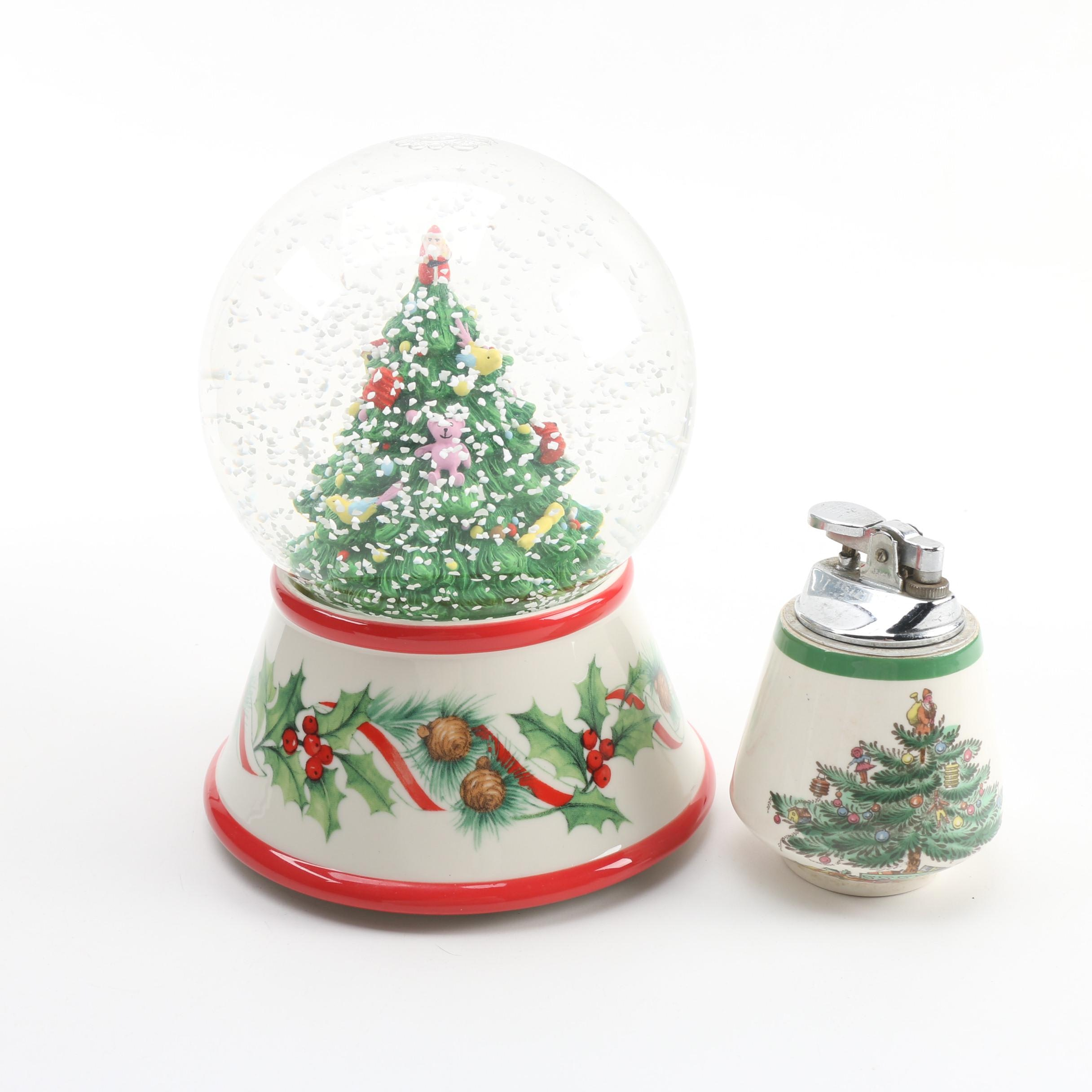 "Spode ""Christmas Tree"" Snow Globe and Lighter"