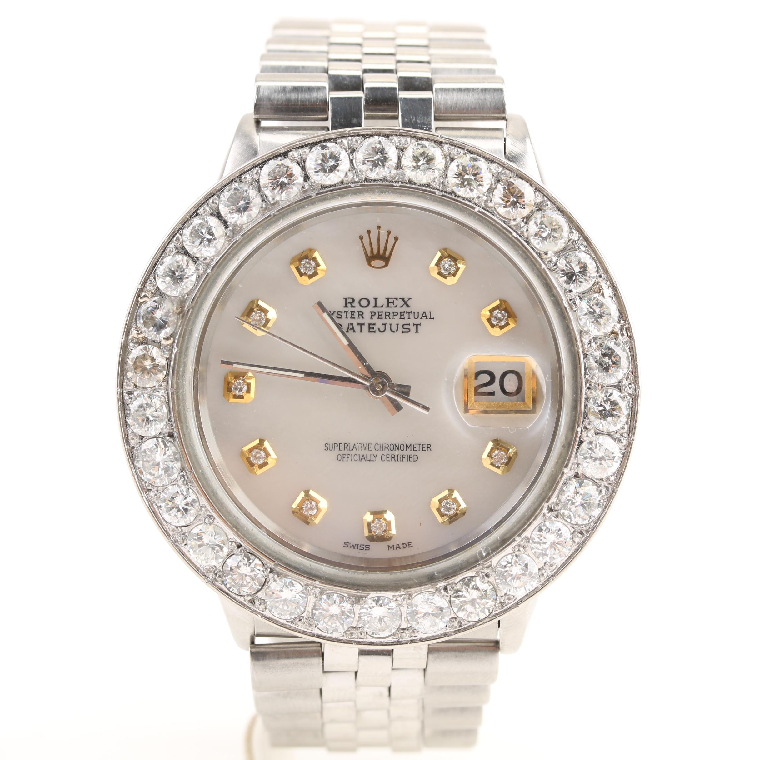 Rolex Datejust Mother of Pearl and 4.30 CTW Diamond Wristwatch, 1989