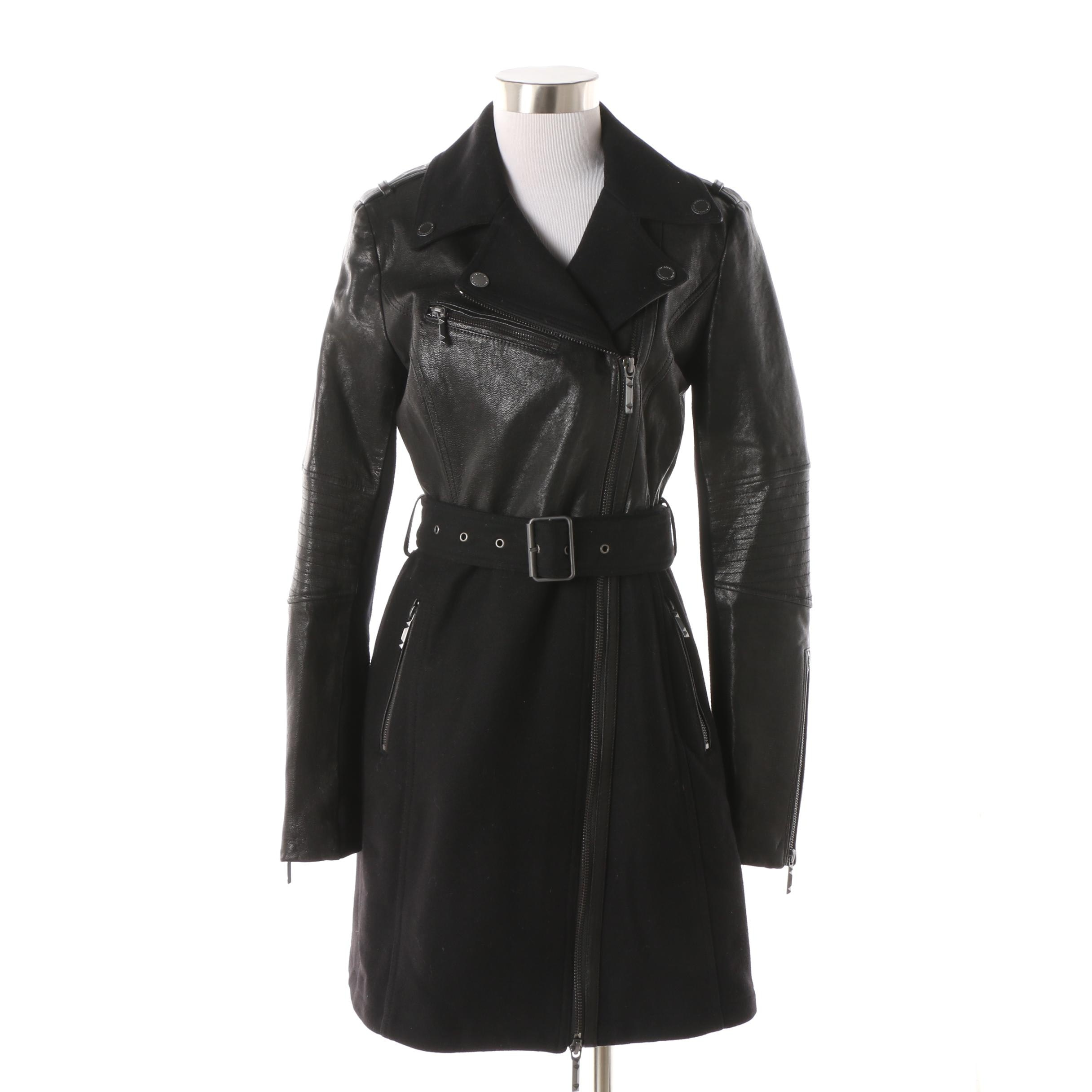 Women's BCBG Max Azria Black Leather and Wool Coat