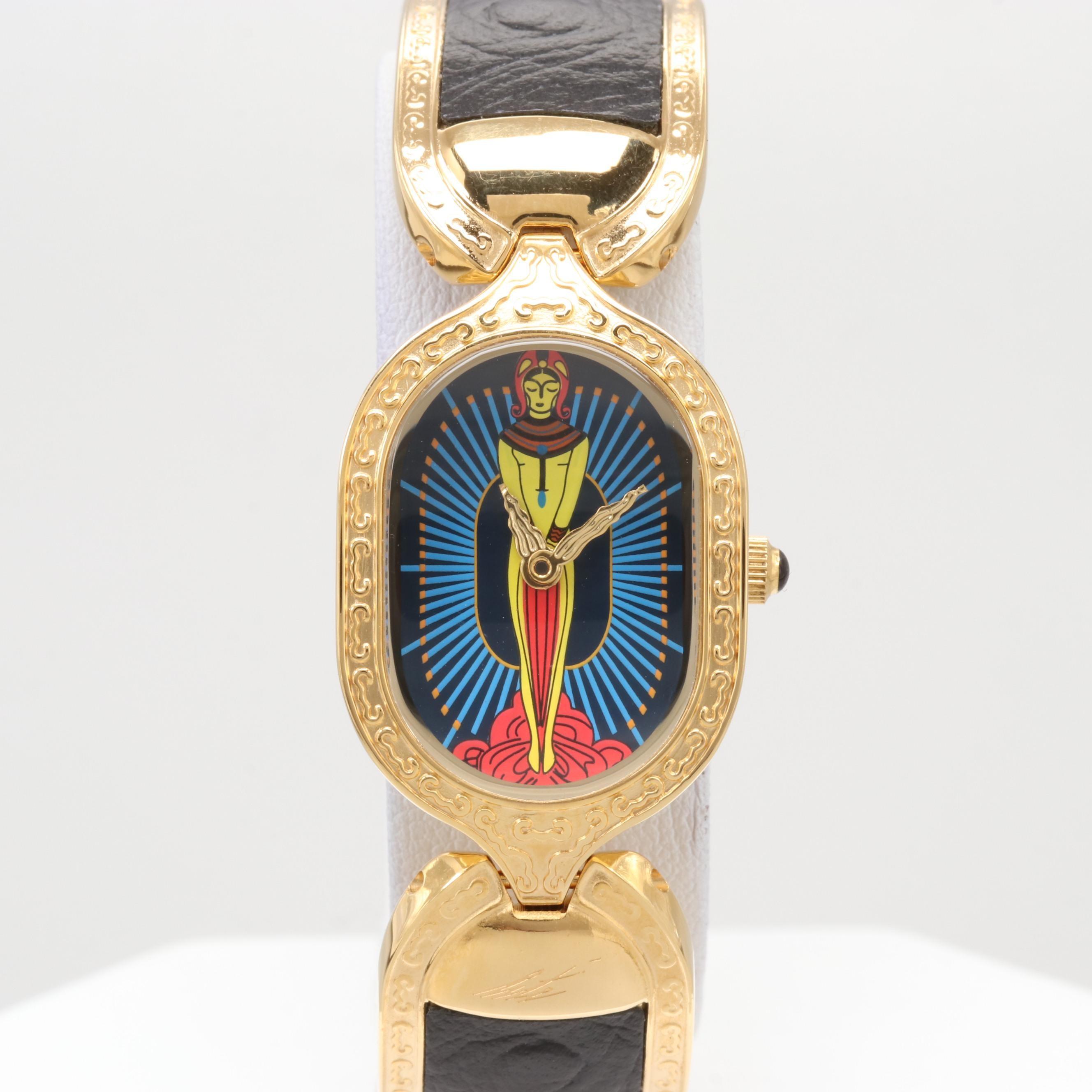 """Sevenarts Ltd. """"Erté"""" Gold Plated Wristwatch"""