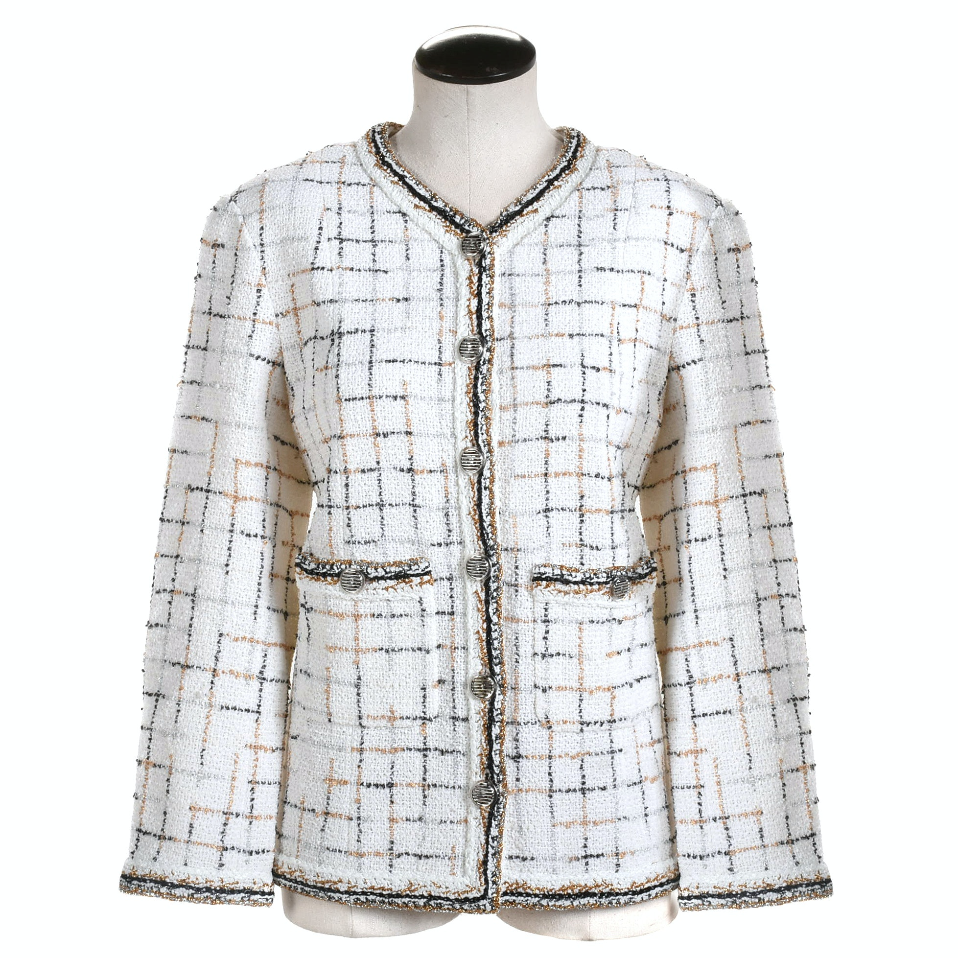 Chanel White Bouclé Jacket with Window Pane Pattern and Metallic Trim, France