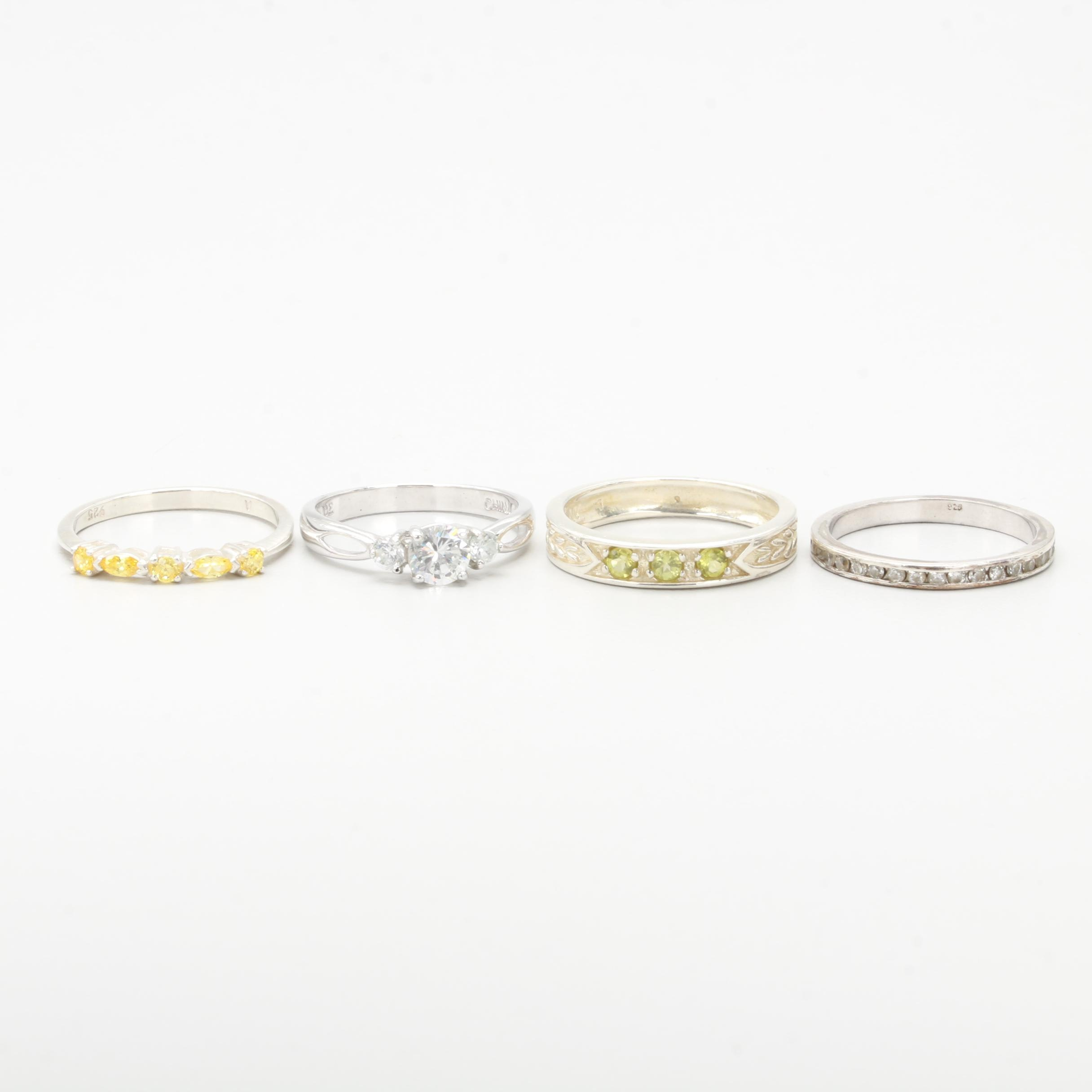 Sterling Silver Ring Selection Including Cubic Zirconia