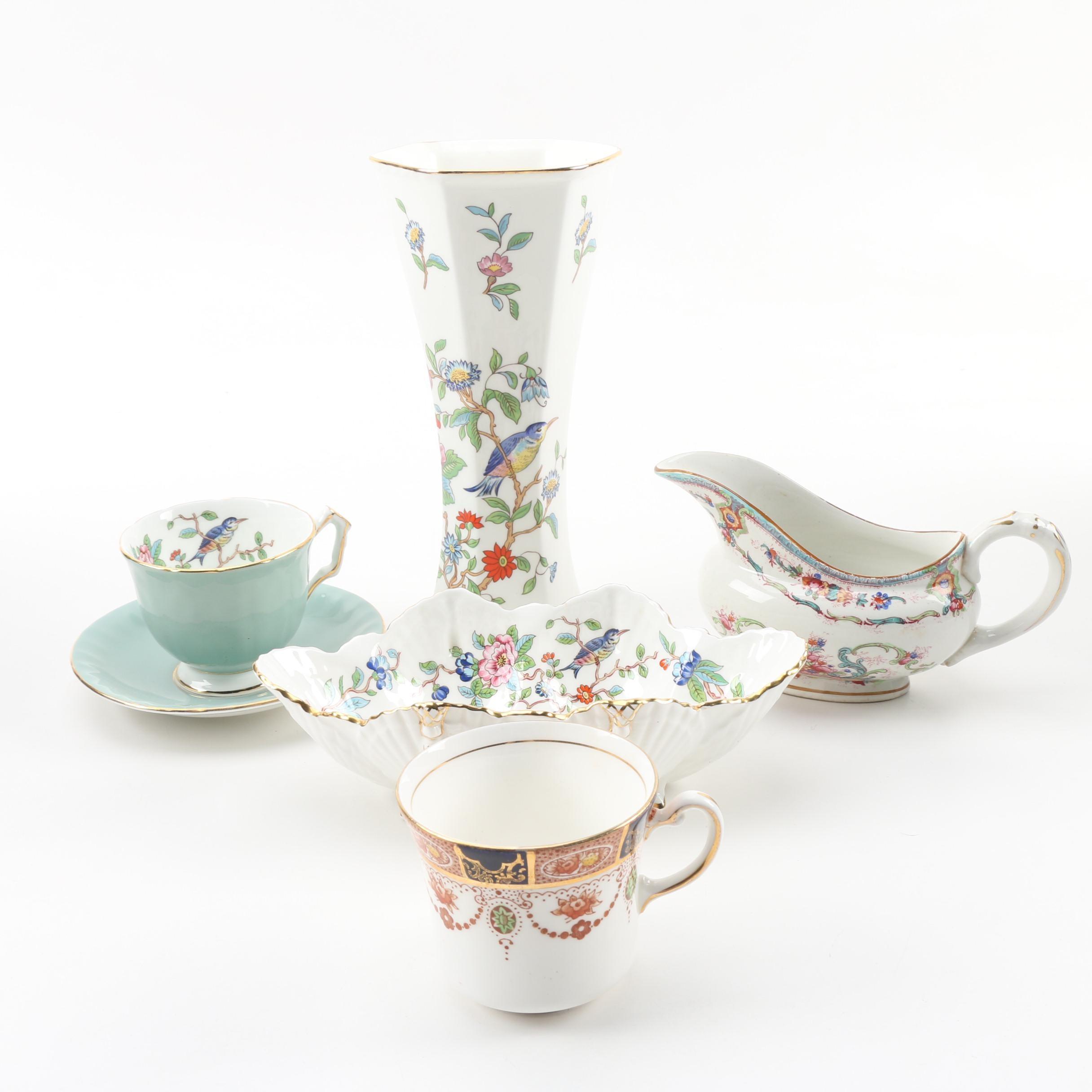 "Aynsley ""Pembroke"" Vase and Bowl, Cauldon Gravy Boat, and Teacups"