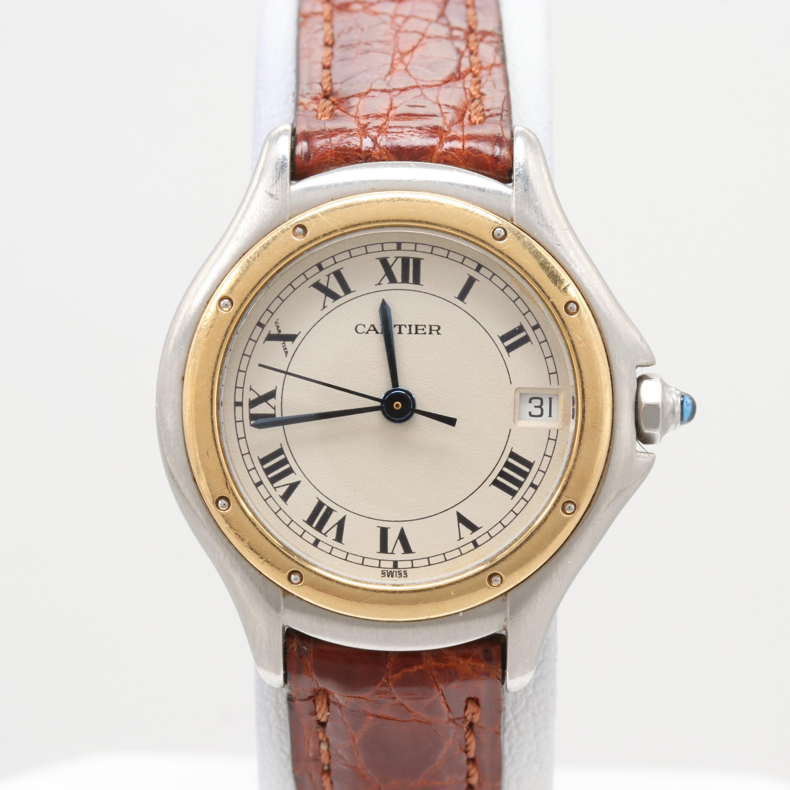 Cartier Cougar Stainless Steel and 18K Yellow Gold Quartz Wristwatch