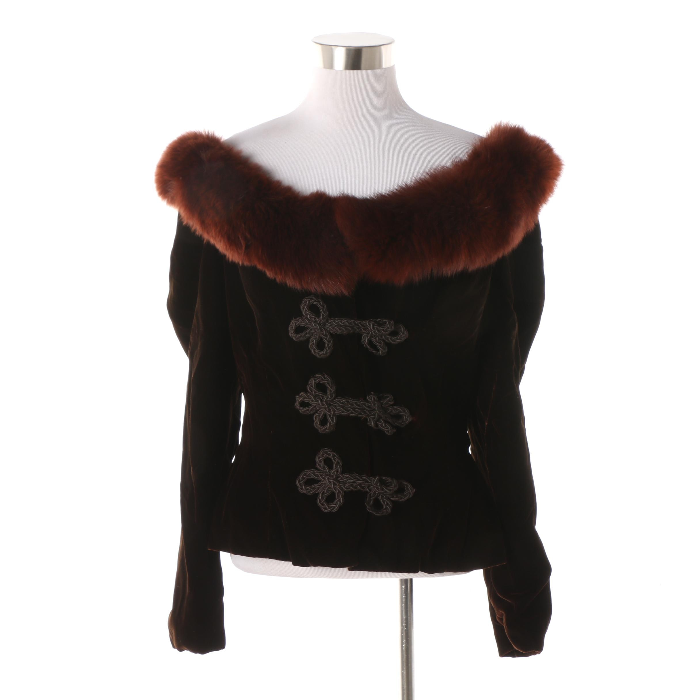 Victor Costa For Saks Fifth Avenue Brown Velvet Jacket with Fox Fur Collar