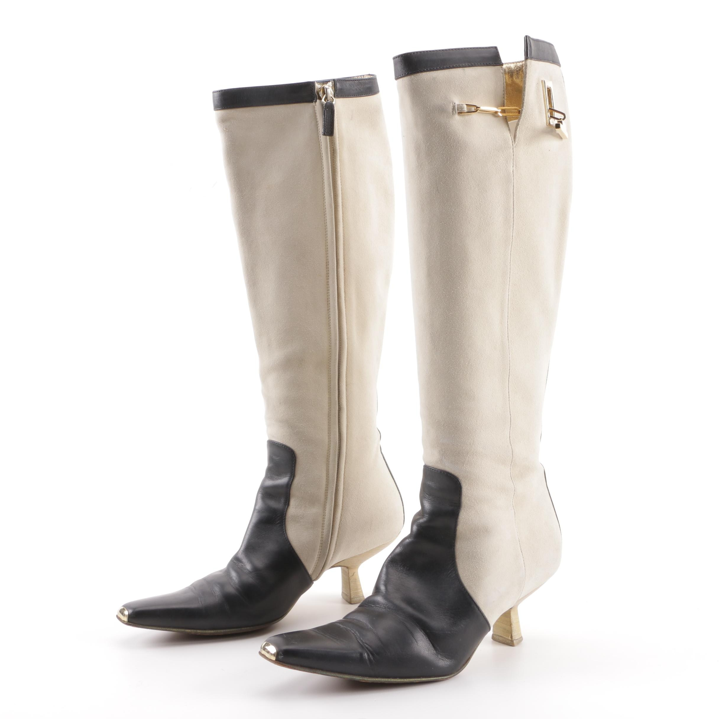 Gucci Cream Suede and Black Leather Color Block Boots