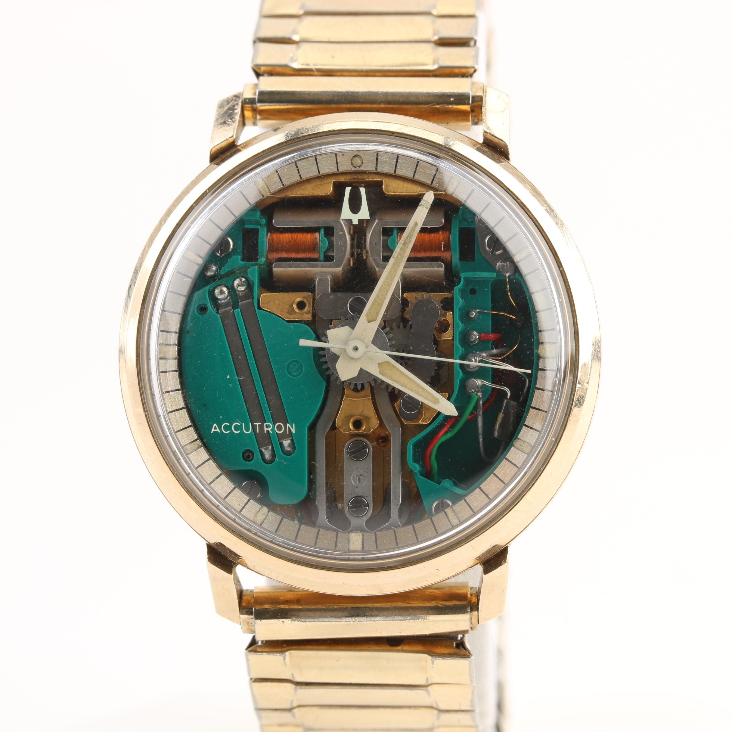 Accutron Spaceview 10K Gold Filled and Stainless Steel Wristwatch