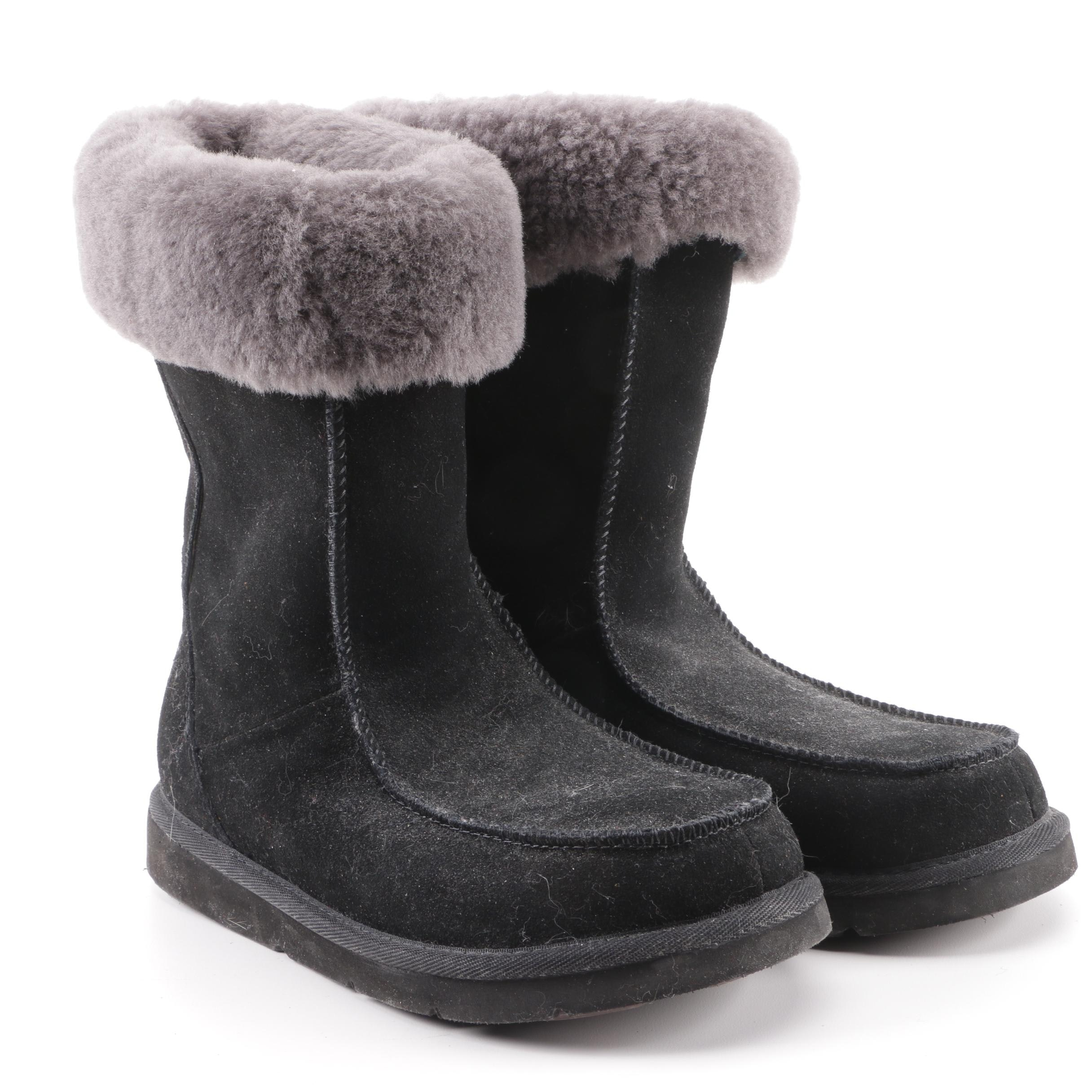 UGG Black Sheepskin Suede Gray Shearling Boots