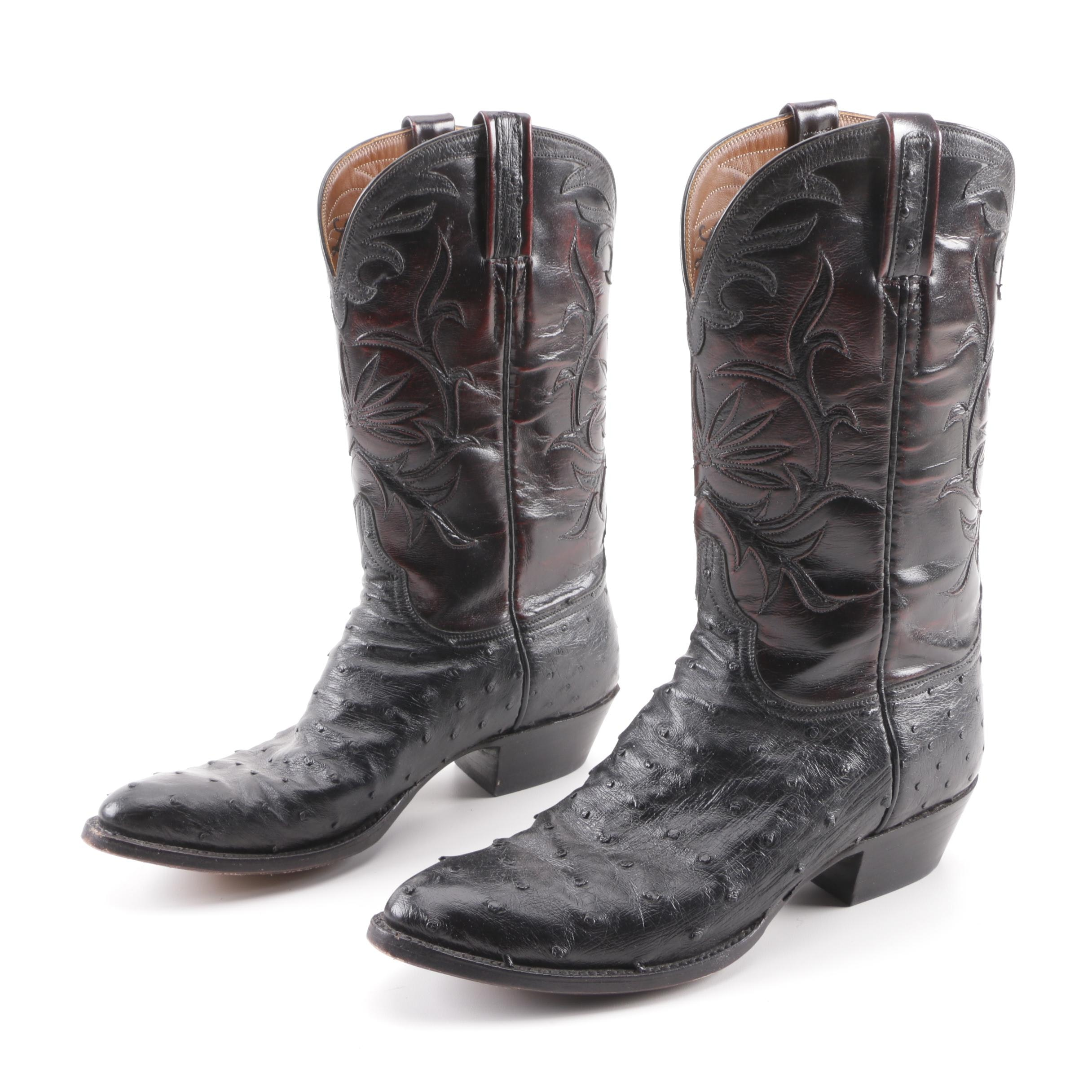 Lucchese Black and Dark Red Leather and Ostrich Western Boots