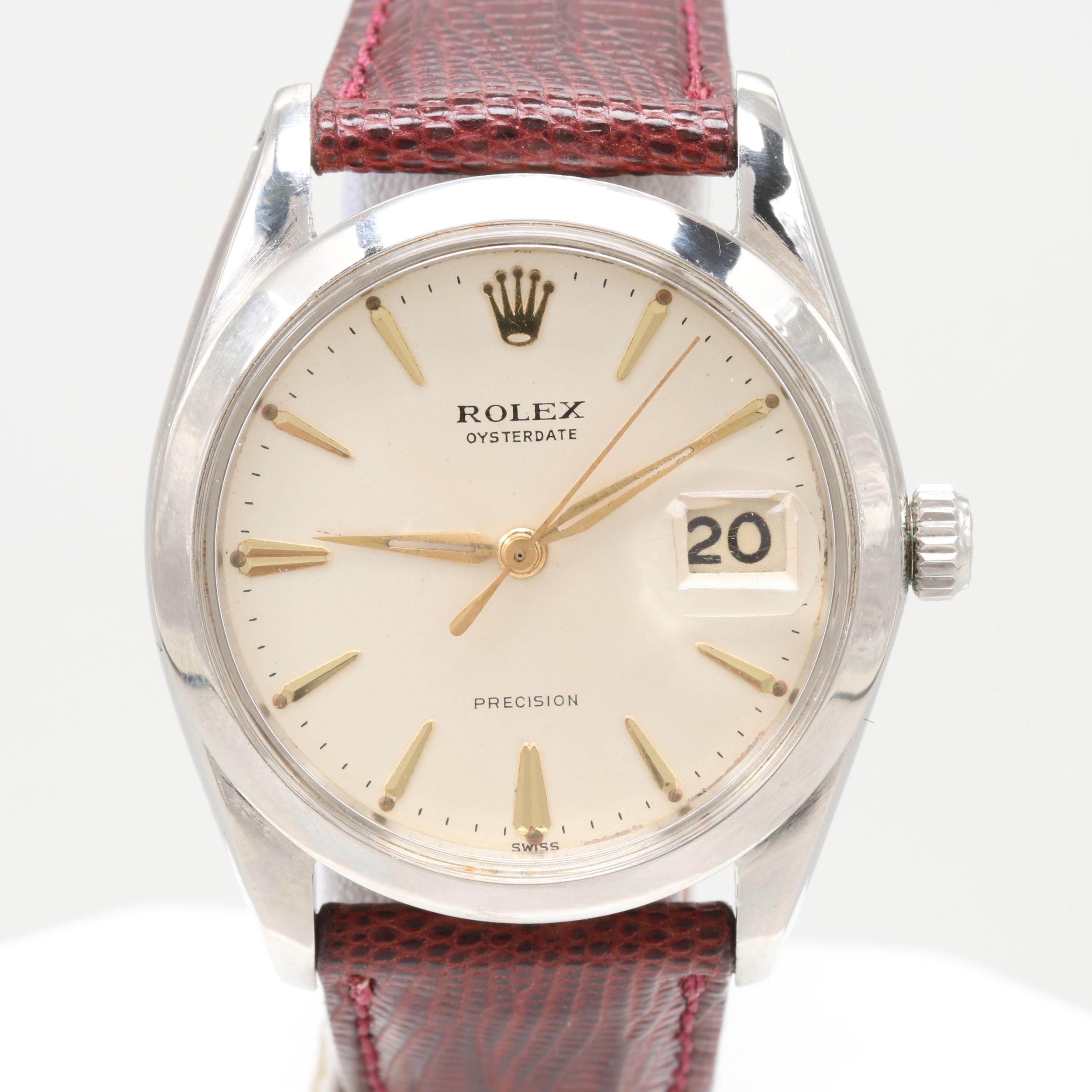 Vintage Rolex Oysterdate Precision Stainless Steel Wristwatch, 1962