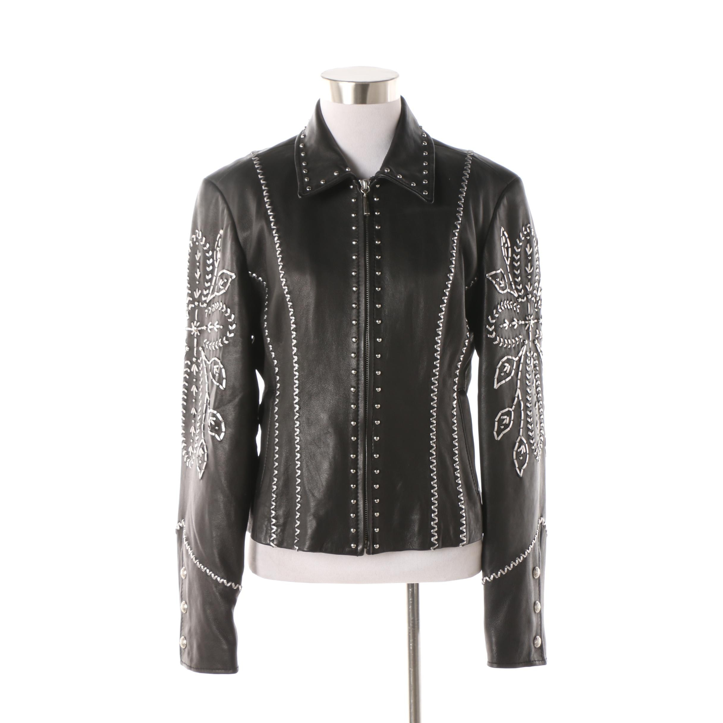 Cripple Creek Black Leather Jacket with Metallic Silver Leather Detail and Studs