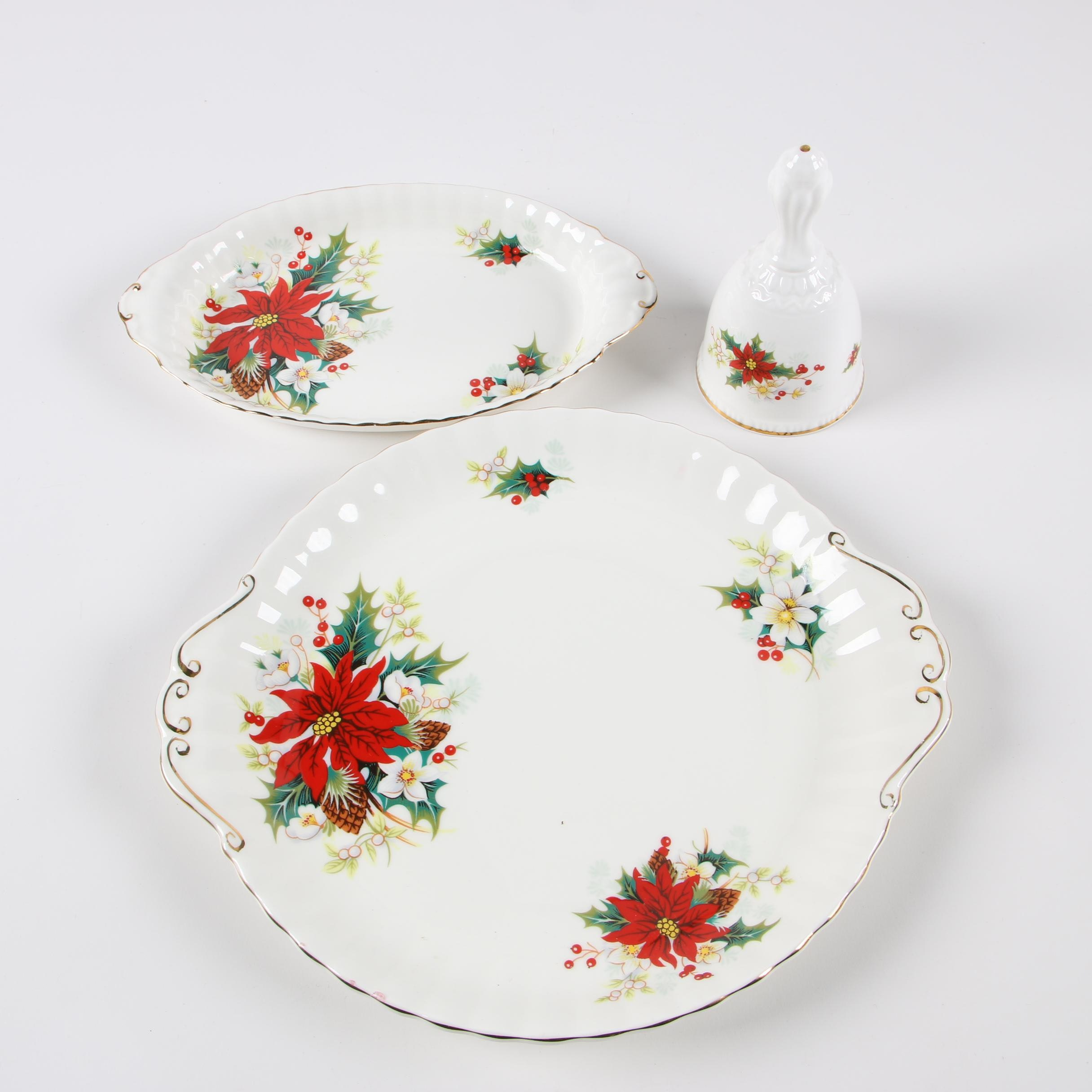 "Royal Albert ""Poinsettia"" Bone China Handled Cake Plate, Tray, and Bell"