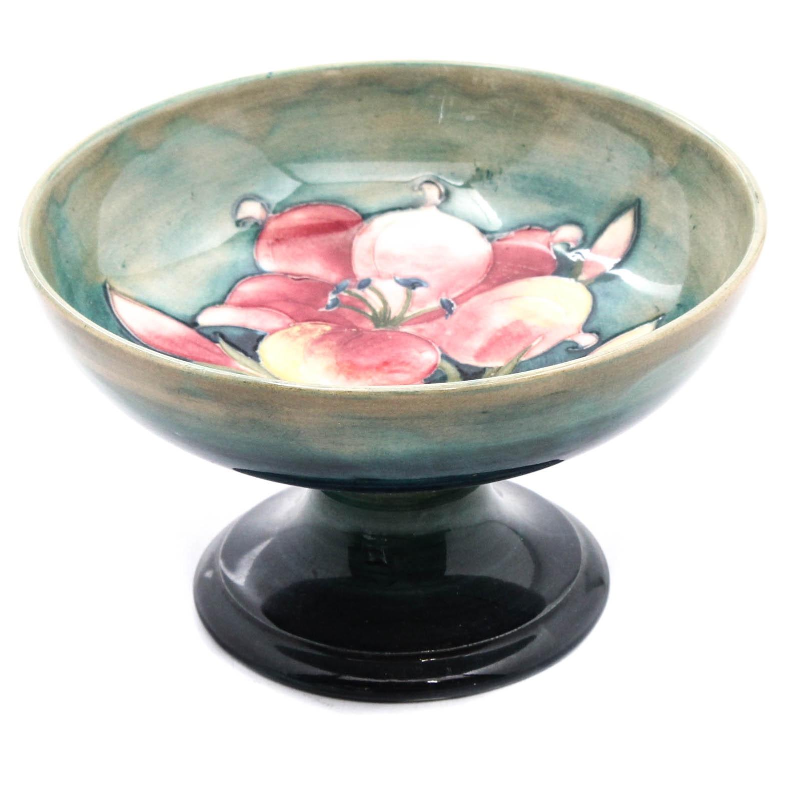 "English Moorcroft ""Freesia"" Hand-Painted Pedestal Bowl"