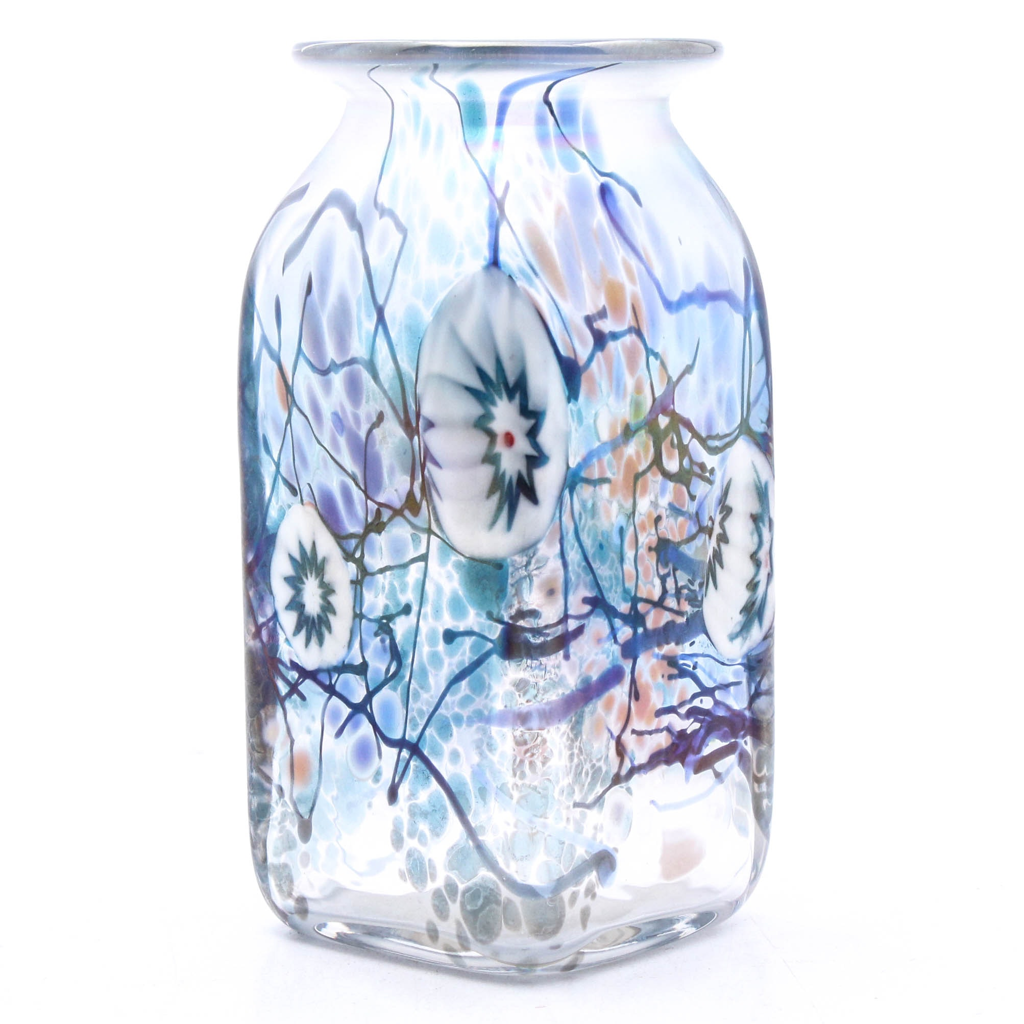Signed Millefiori-Style Art Glass Vase