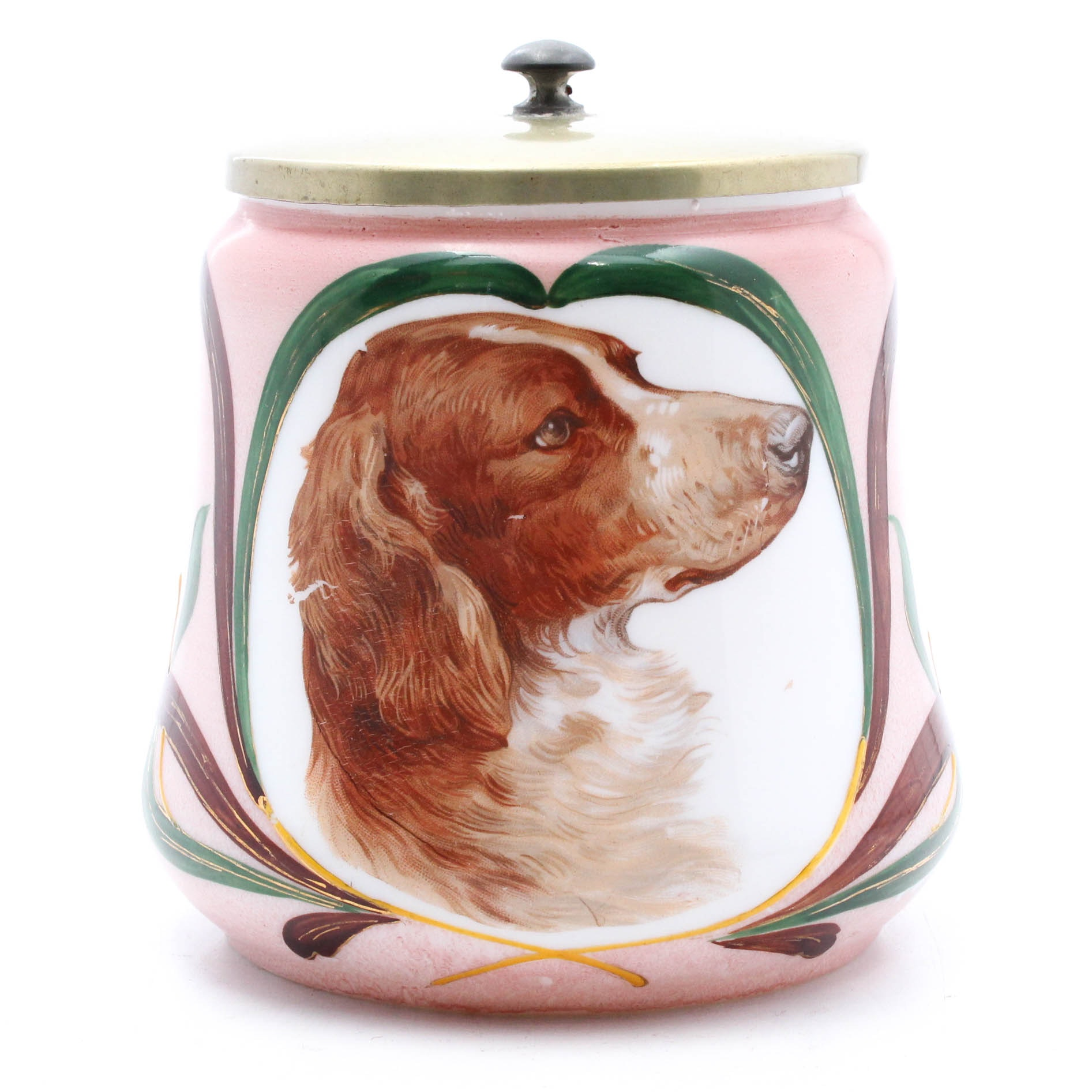 Austrian Hand-Painted Dog Decal Milk Glass Humidor