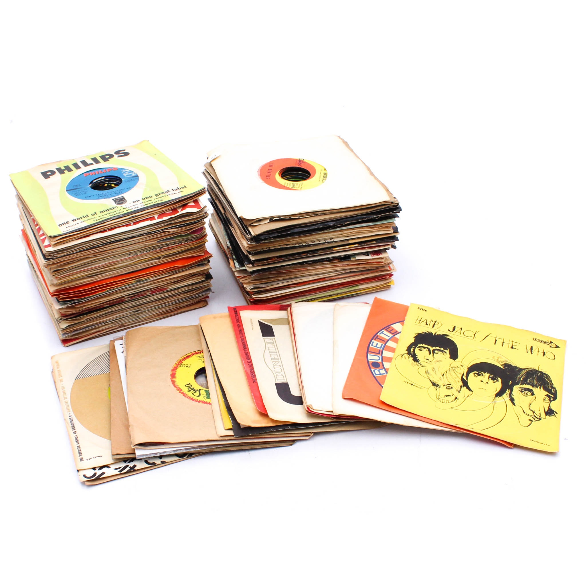 Vintage Classic Rock 45 Records Collection