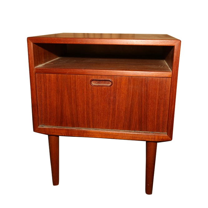 Danish Modern Teak Fall Front Nightstand by Falster, Mid-20th Century