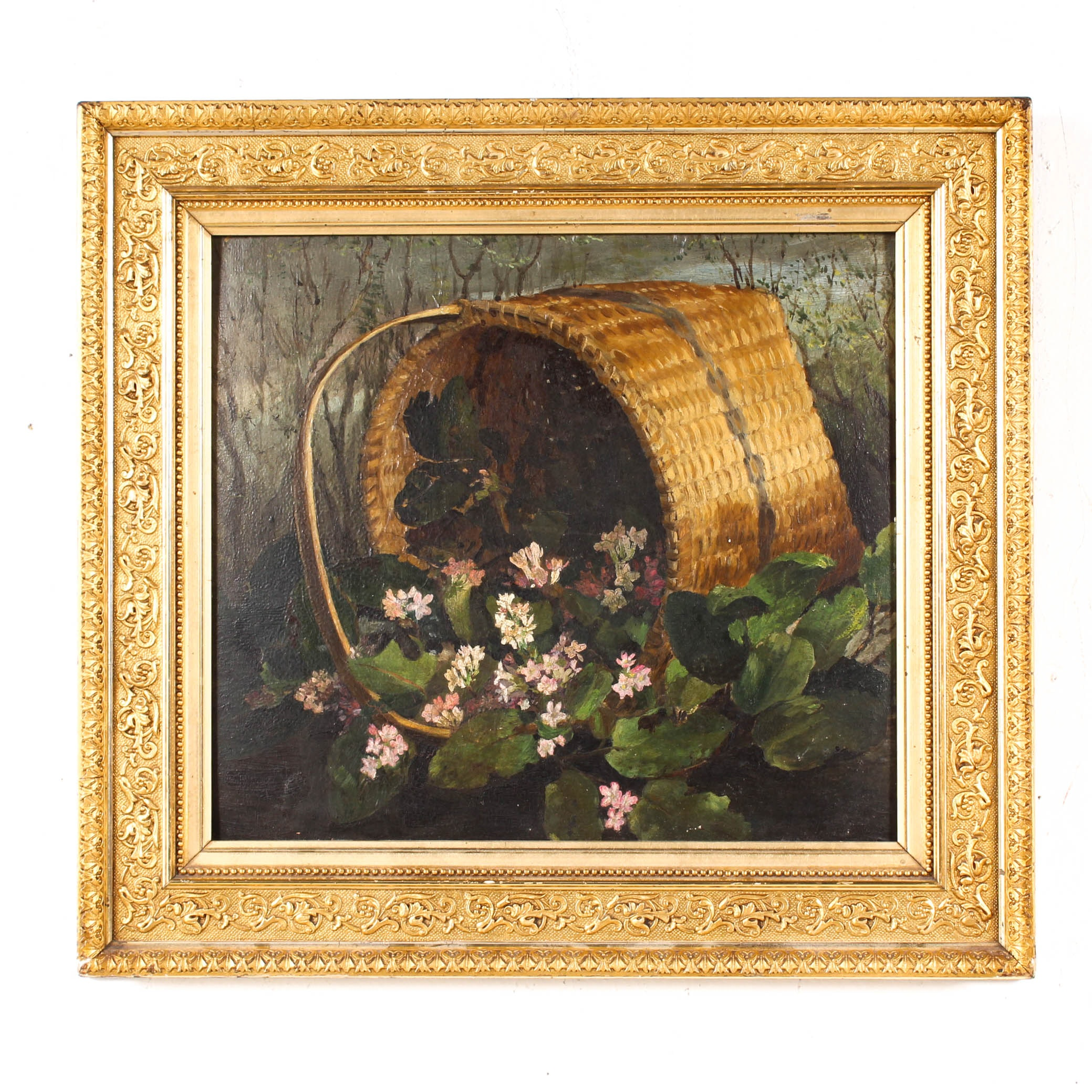 Victorian Still Life Oil Painting Depicting a Basket of Flowers