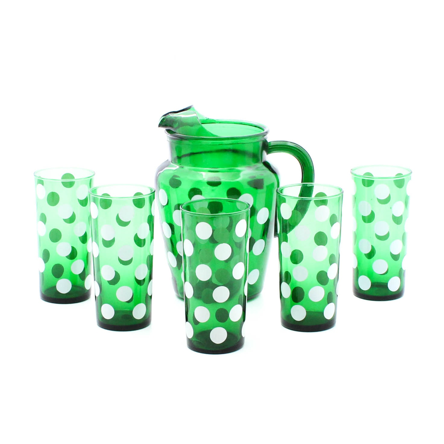 Green Polka Dot Anchor Hocking Glass Pitcher and Tumblers