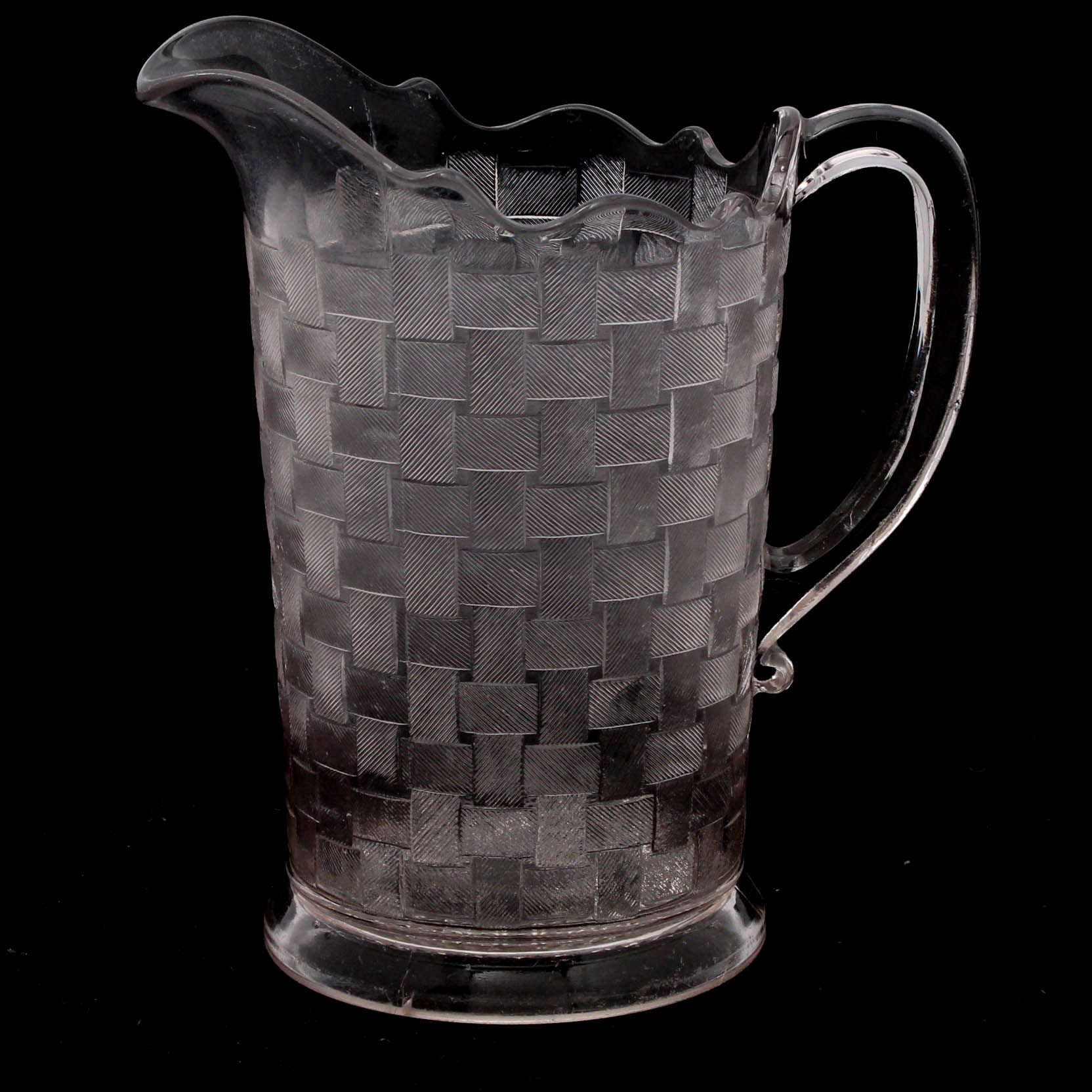"Flint Glass Company ""Basketweave"" Early American Pattern Glass Pitcher, 1887"