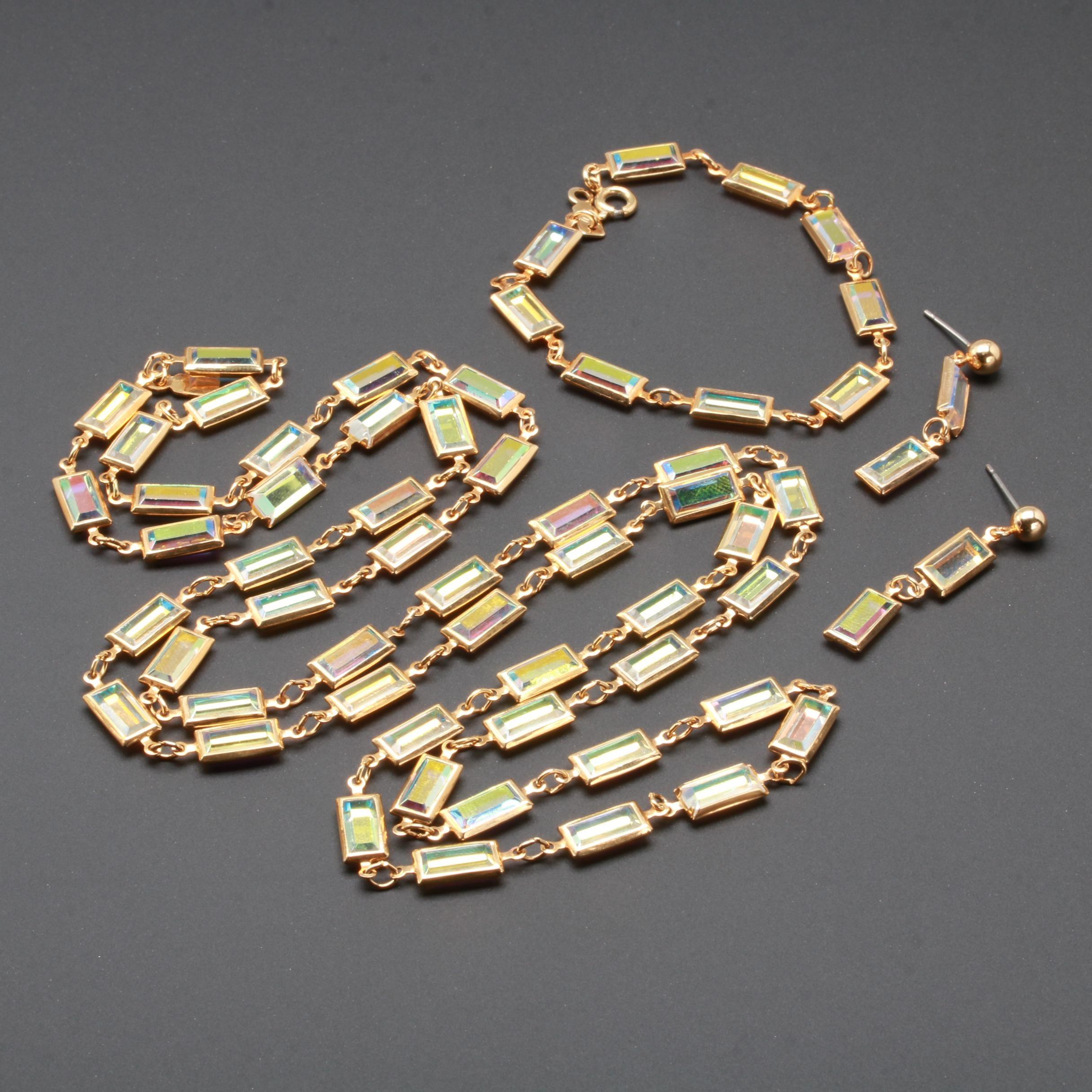 Swarovski Gold Tone Glass Necklace, Bracelet and Earring Set