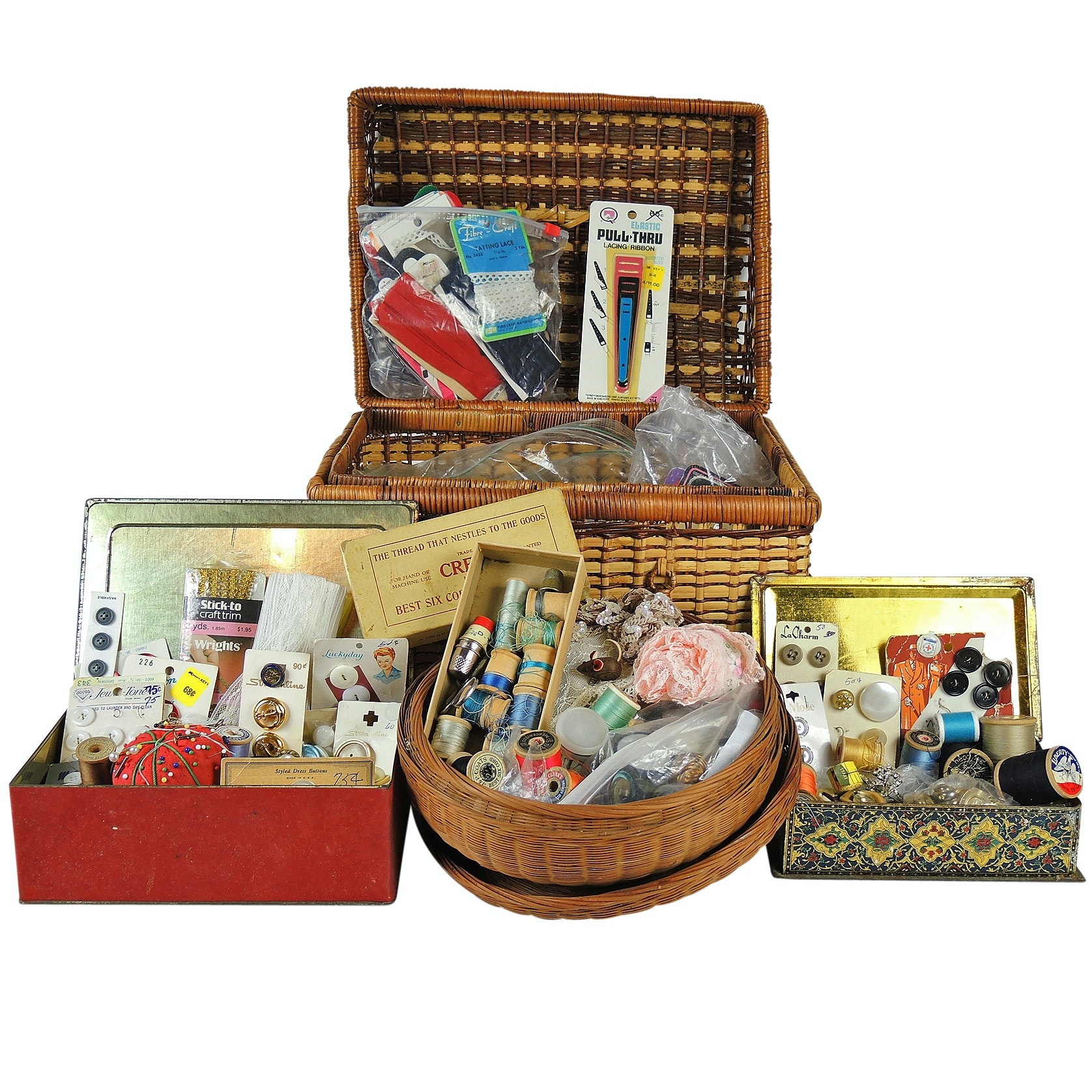 Vintage Sewing Notions and Sewing Baskets