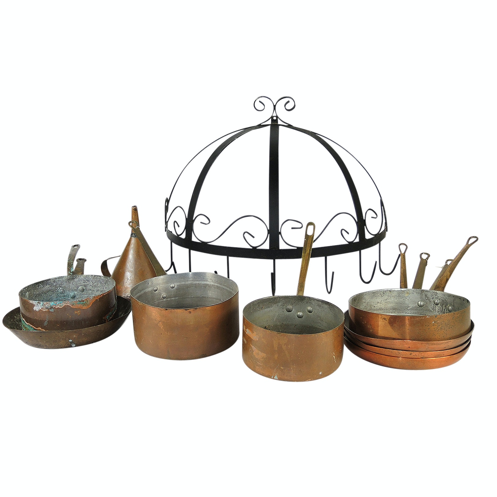 Copper Clad Pots and Pans with Hanging Rack