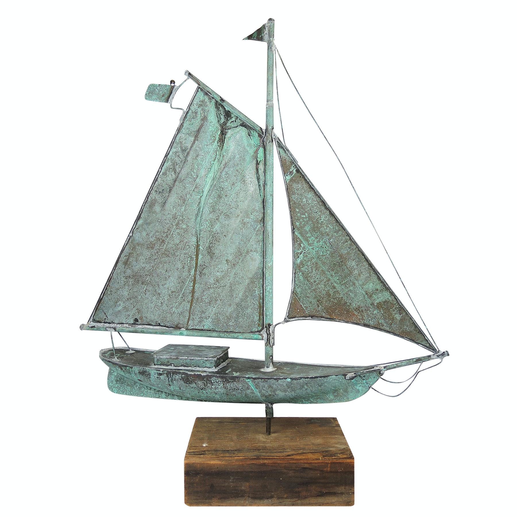 Copper Sailboat Weather Vane