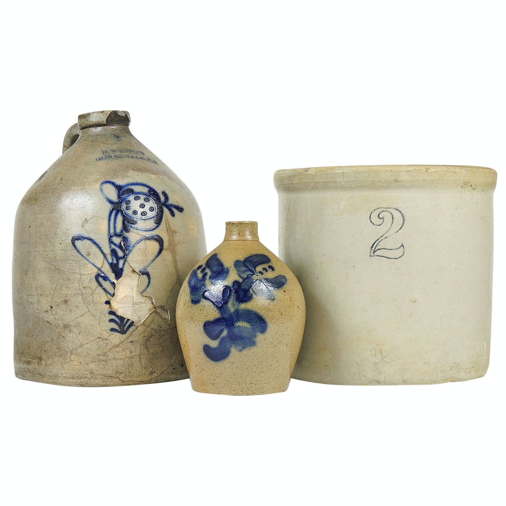 Cobalt Decorated Stoneware Jugs and Crock Including Honesdale Pottery