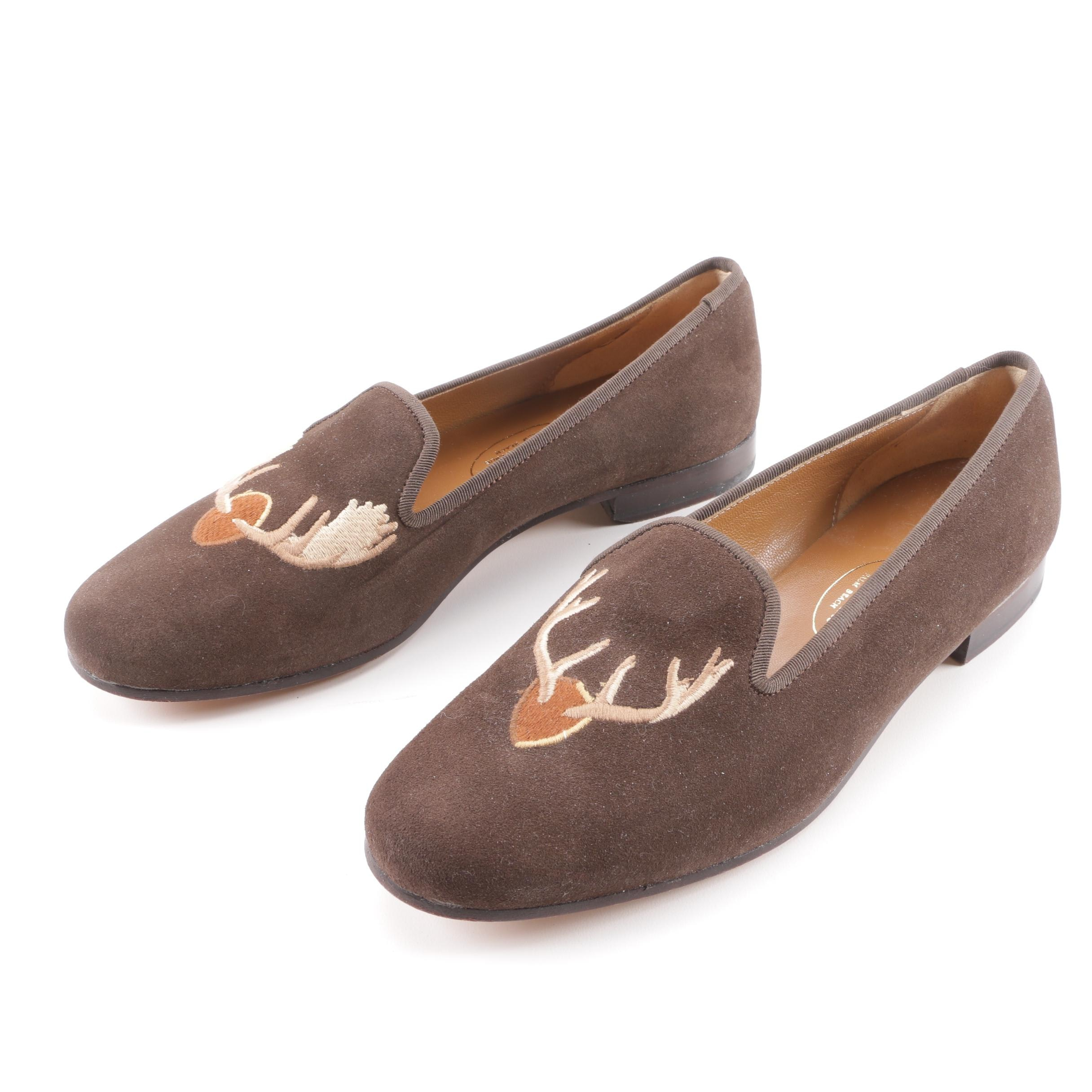 Women's Stubbs & Wootton Brown Suede Embroidered Antler Slippers