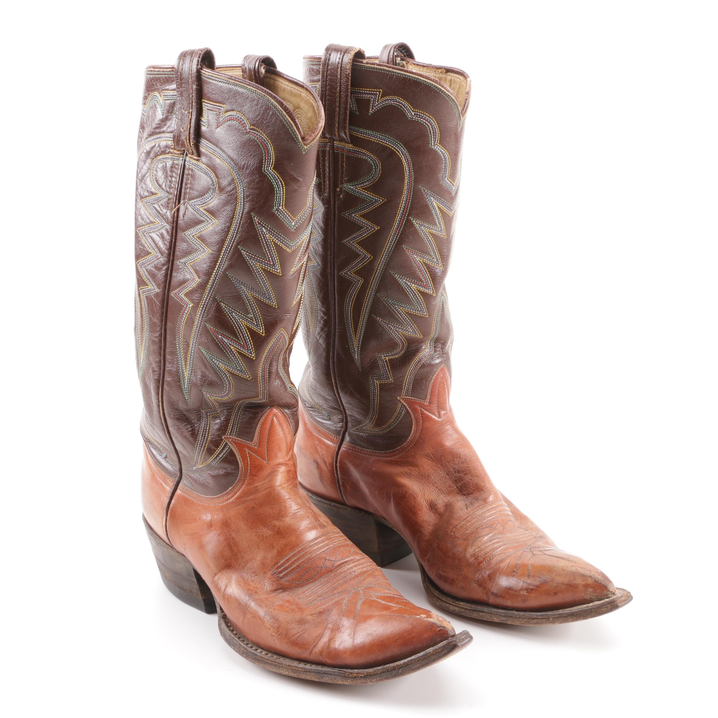 Women's Tony Lama of El Paso, Texas Two-Tone Brown Leather Western Boots