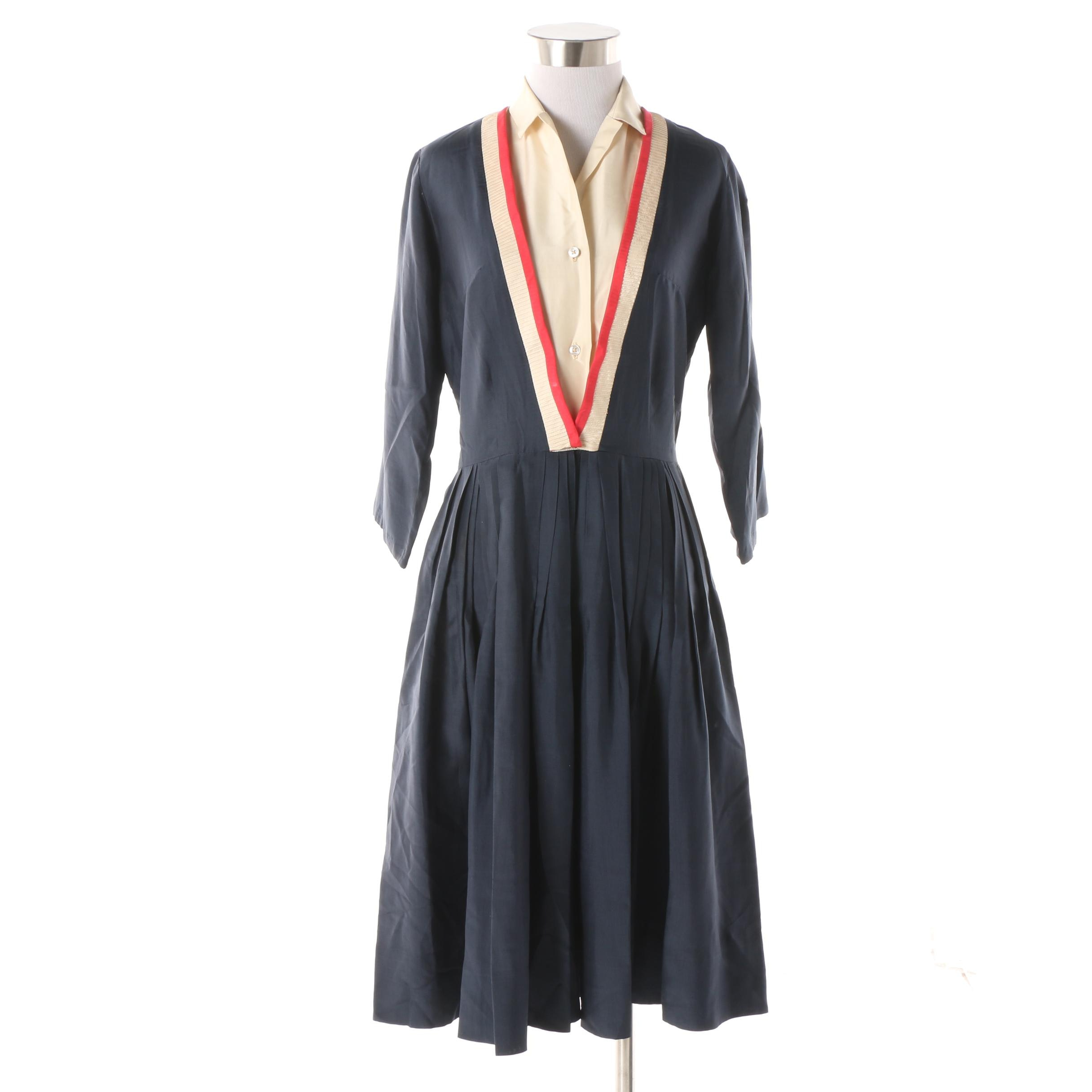 Women's 1950s Vintage Pleated Shirtwaist Dress