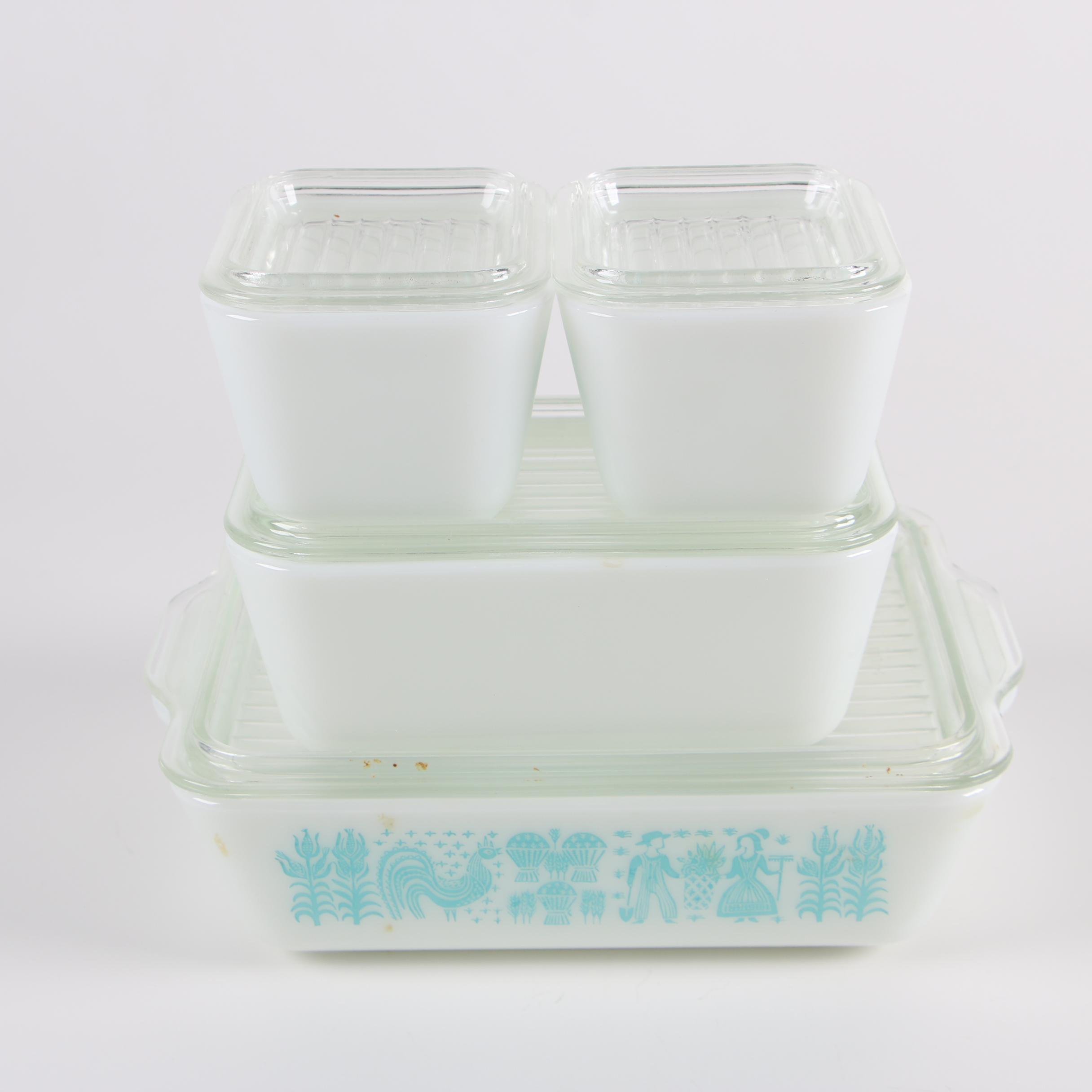 """Pyrex """"Butterprint"""" Glass Refrigerator Boxes, 1957-68"""