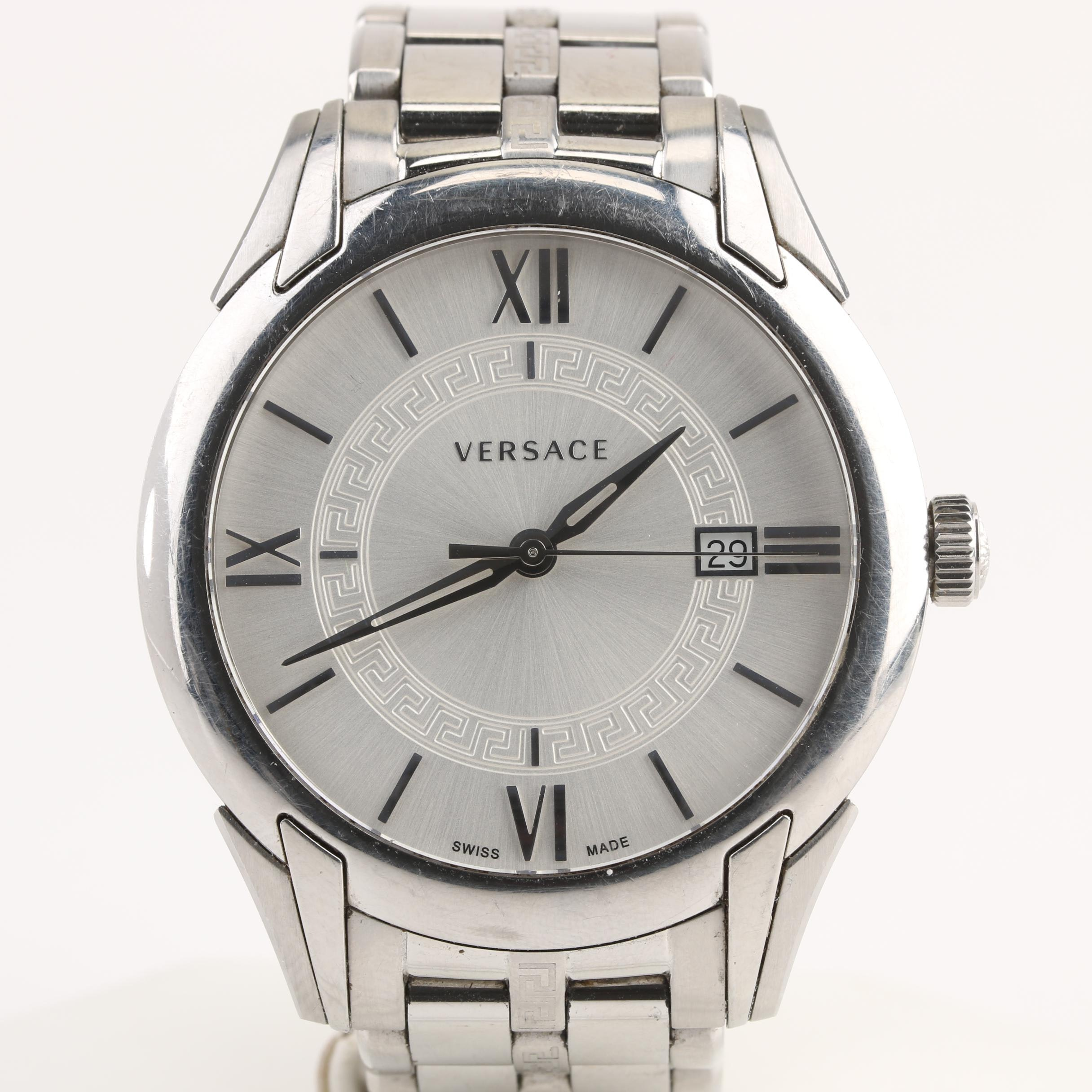 Versace Stainless Steel Wristwatch With Date Window