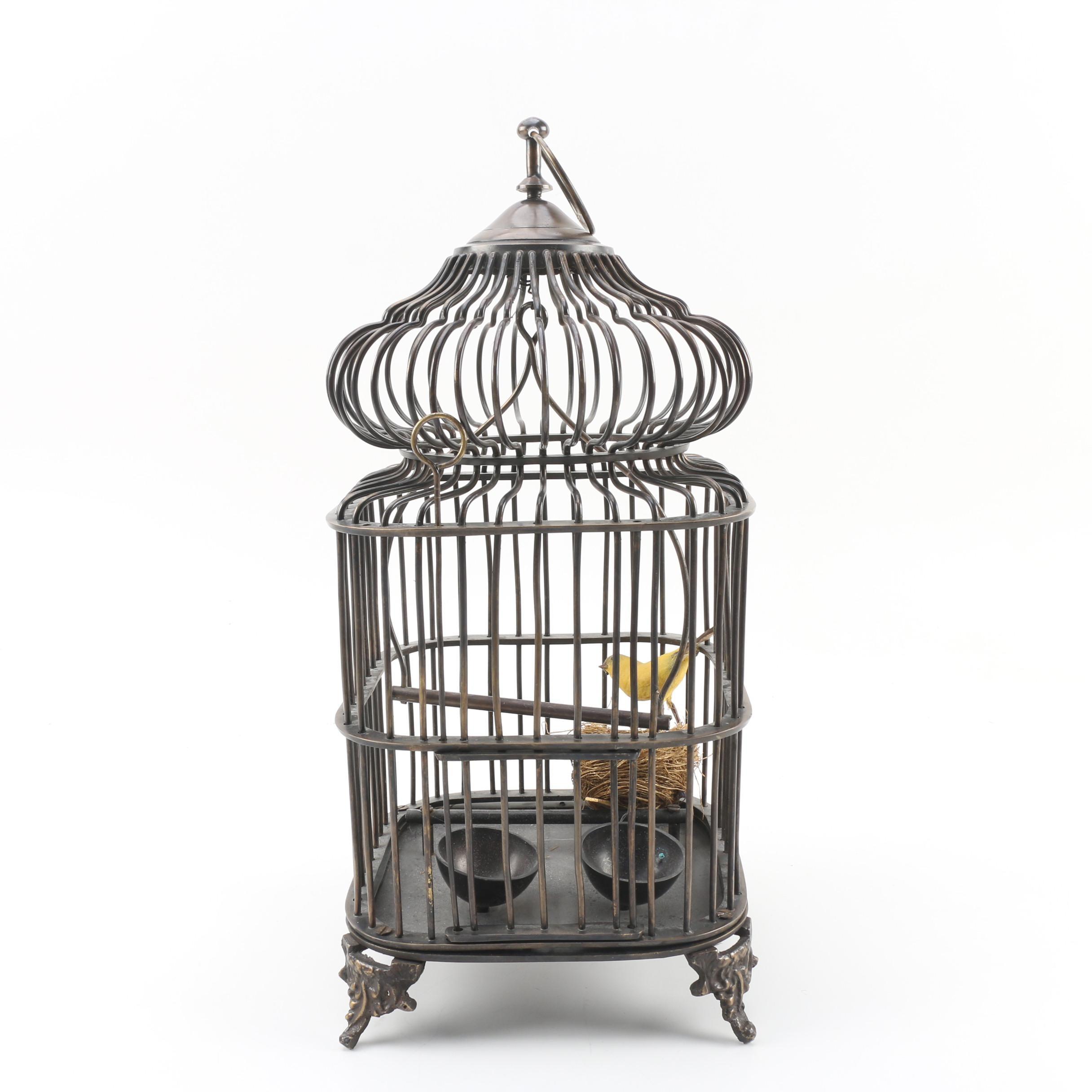 Castilian Imports Decorative Brass Bird Cage with Bird Figurine