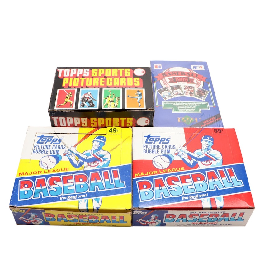 Unopened Baseball Card Boxes And Rack Packs