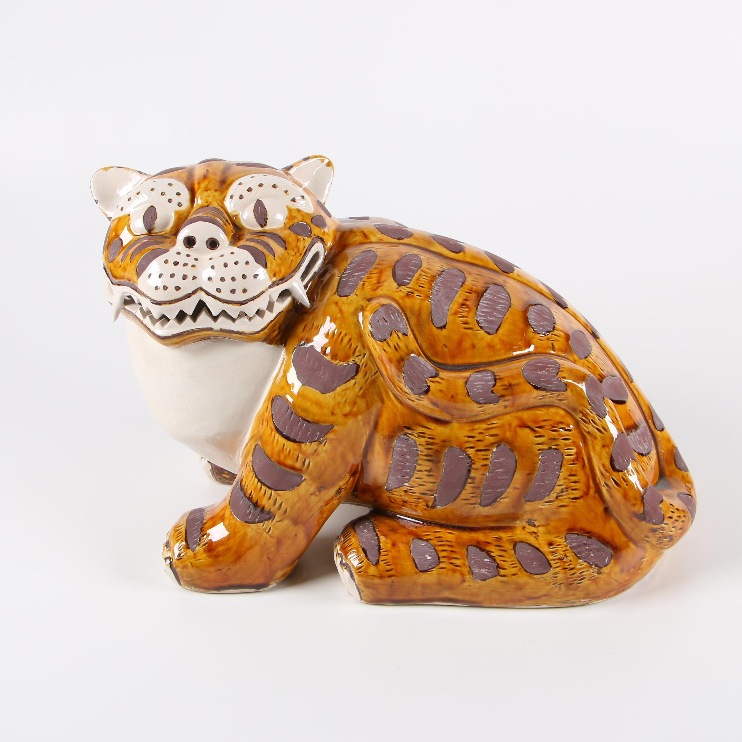 "Gump's ""Japanese Tiger"" Ceramic Sculpture"