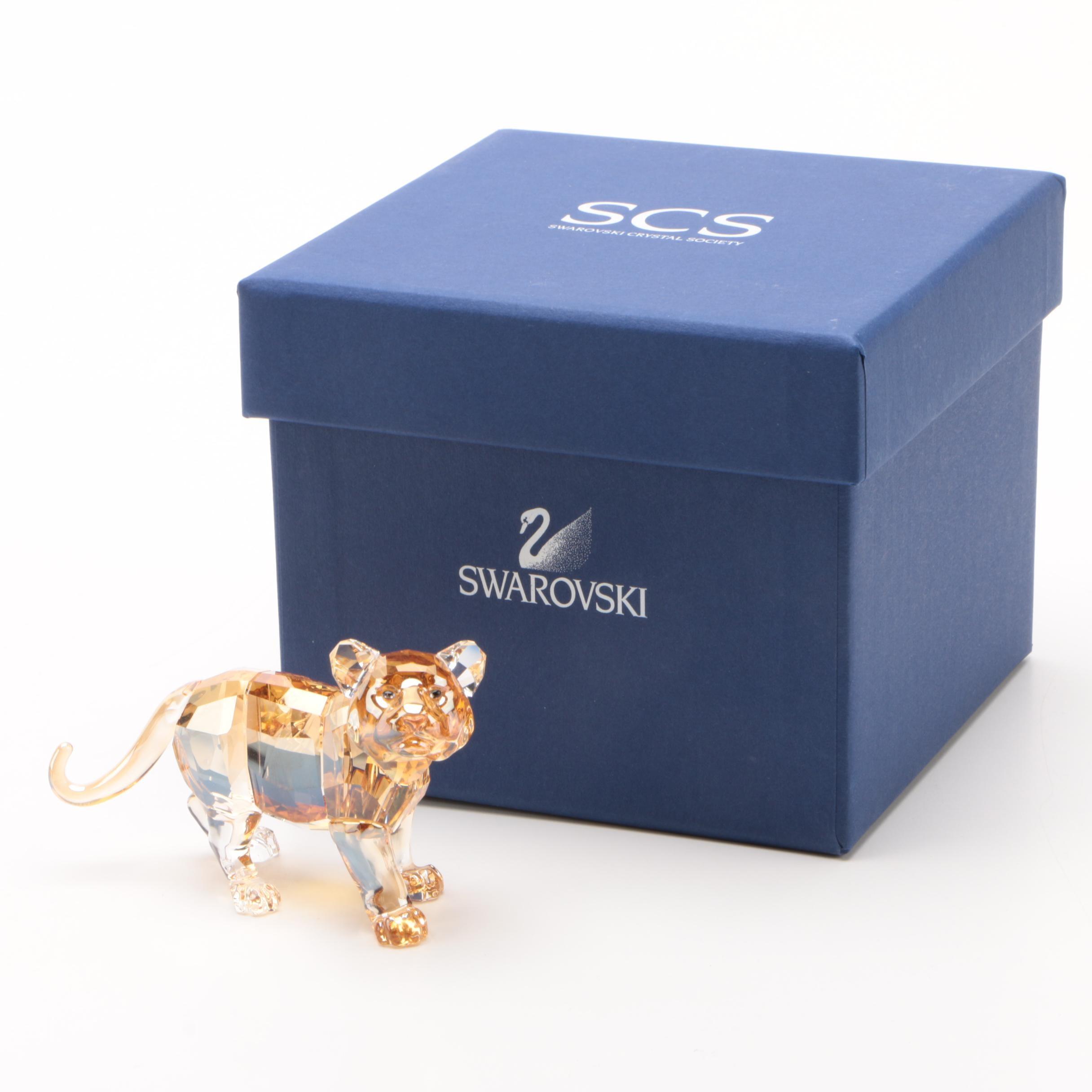 "Swarovski Endangered Wildlife ""Tiger Cub Standing"" Crystal Figurine, 2010"