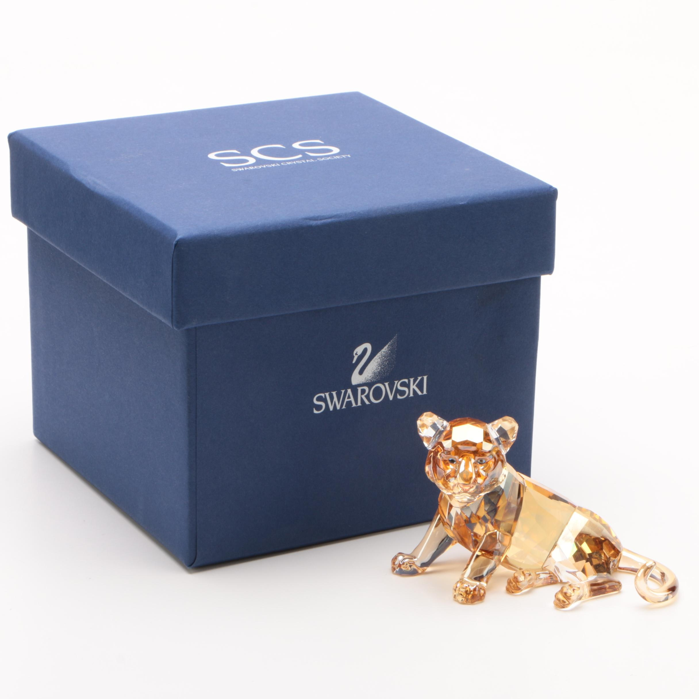 "Swarovski Endangered Wildlife ""Tiger Cub Sitting"" Crystal Figurine, 2010"