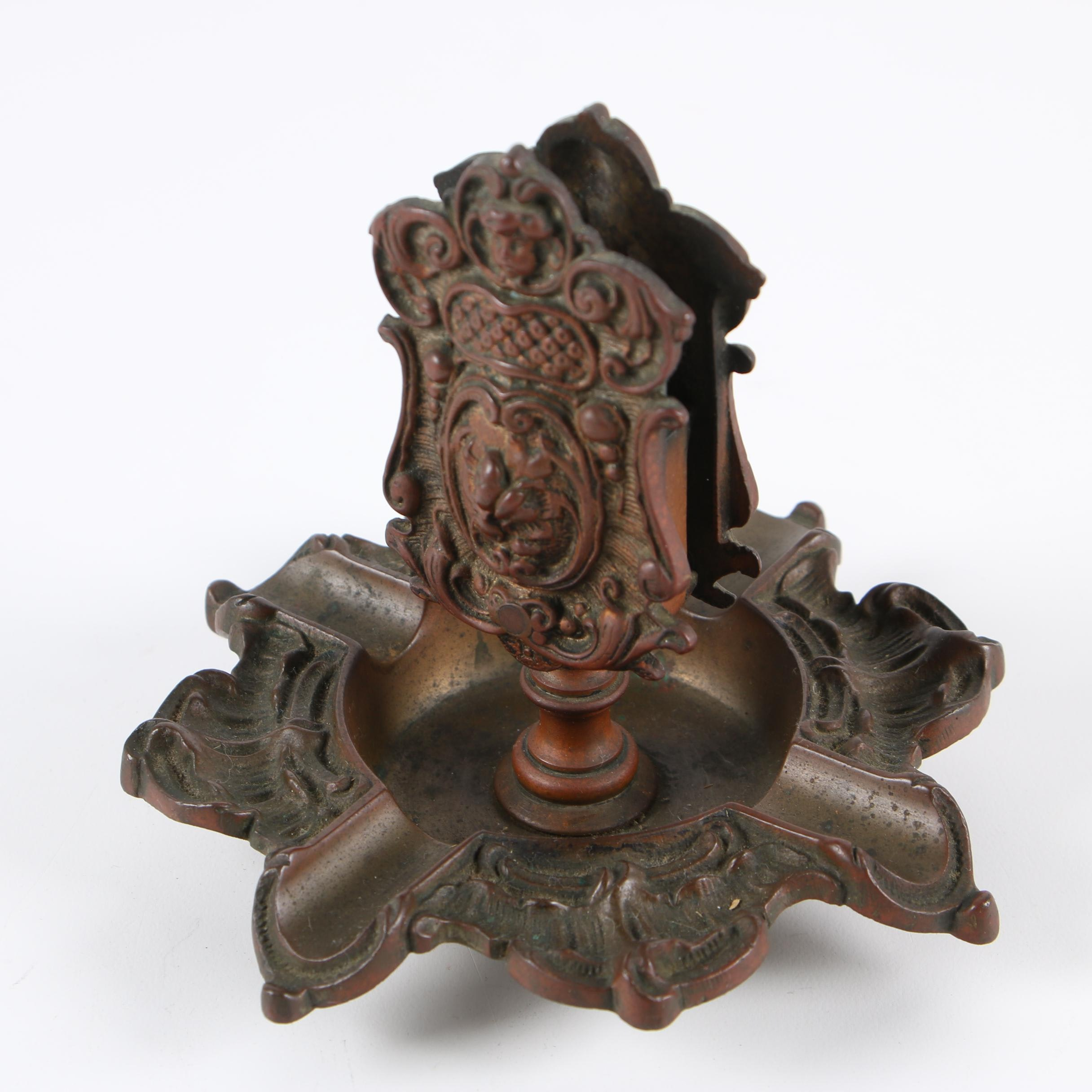 Frank & De Keyser Brass Ash Receiver and Matchbox Holder, Late 19th Century