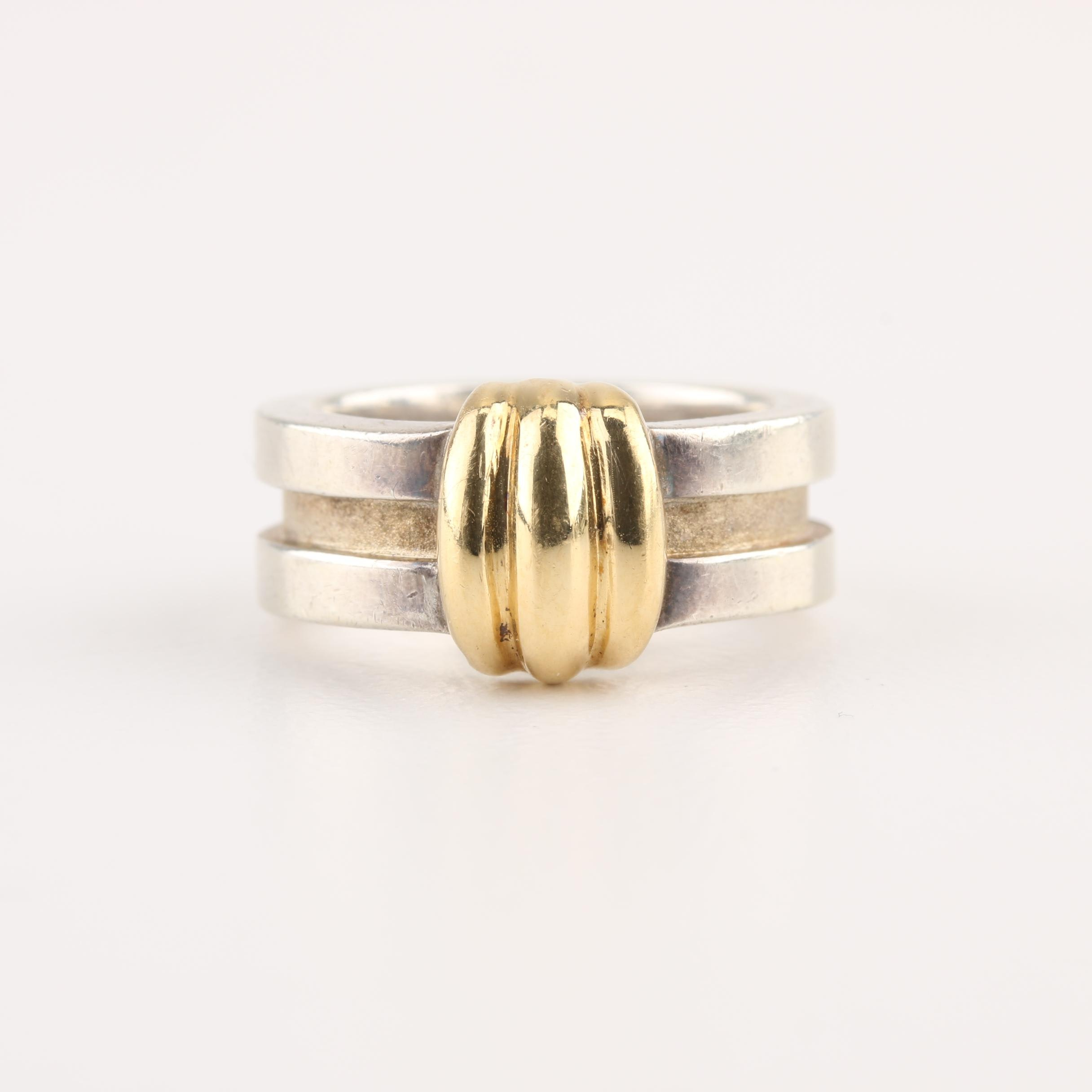 Tiffany & Co. Sterling Silver Atlas Groove Ring With 18K Yellow Gold Accent