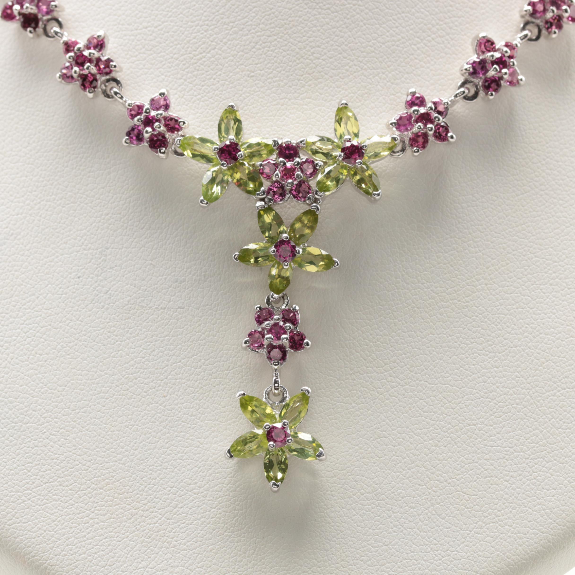 Sterling Silver Peridot and Rhodolite Garnet Floral Motif Necklace