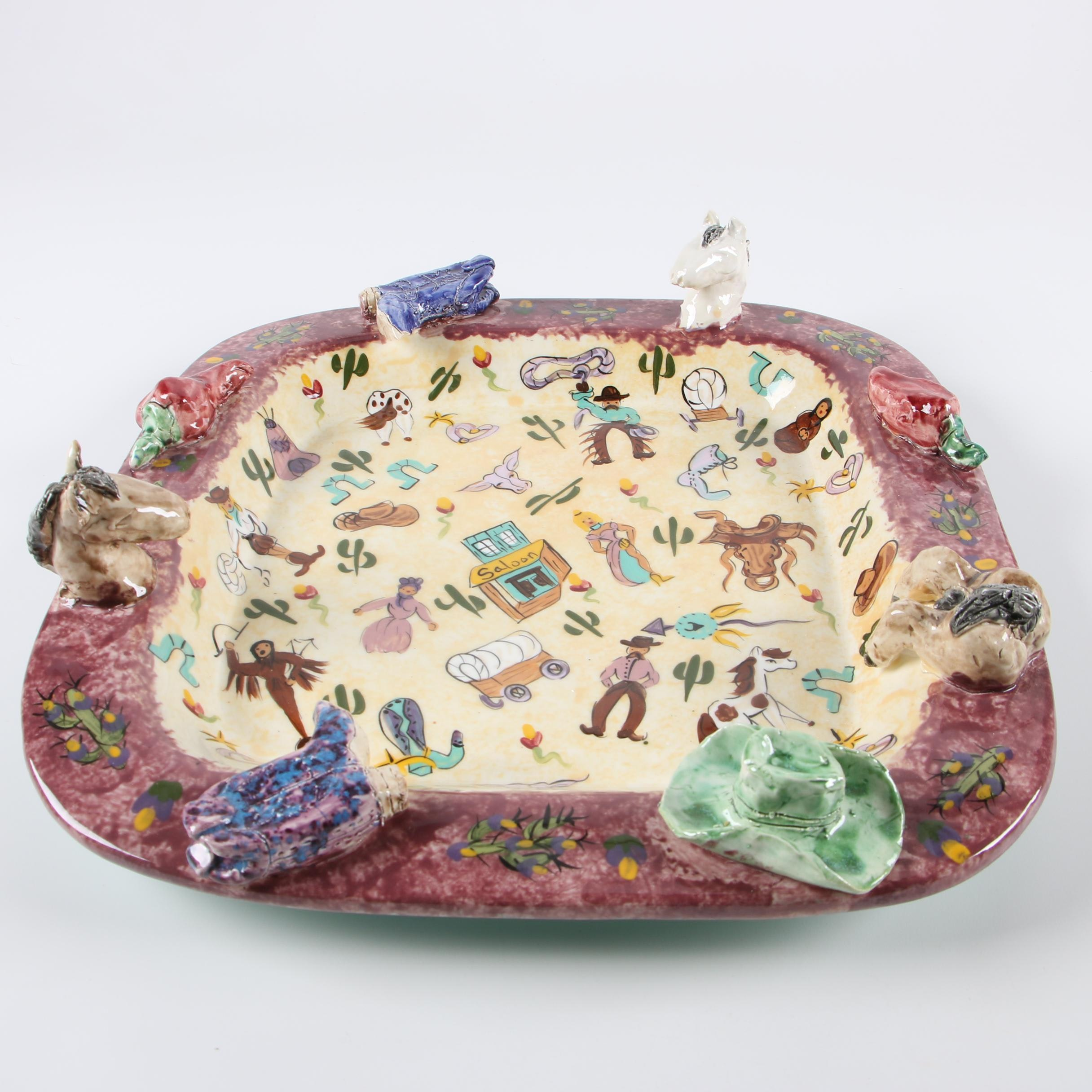 Lesäl Ceramics Southwestern Inspired Serving Tray